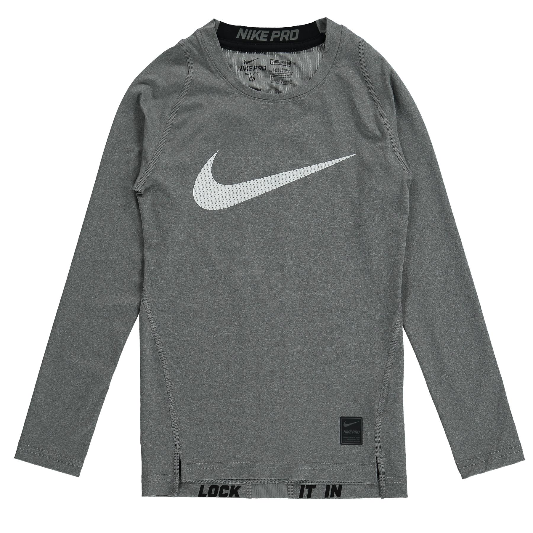 Nike Pro Combat Hypercool Baselayer Top  Long Sleeve  Kids Grey