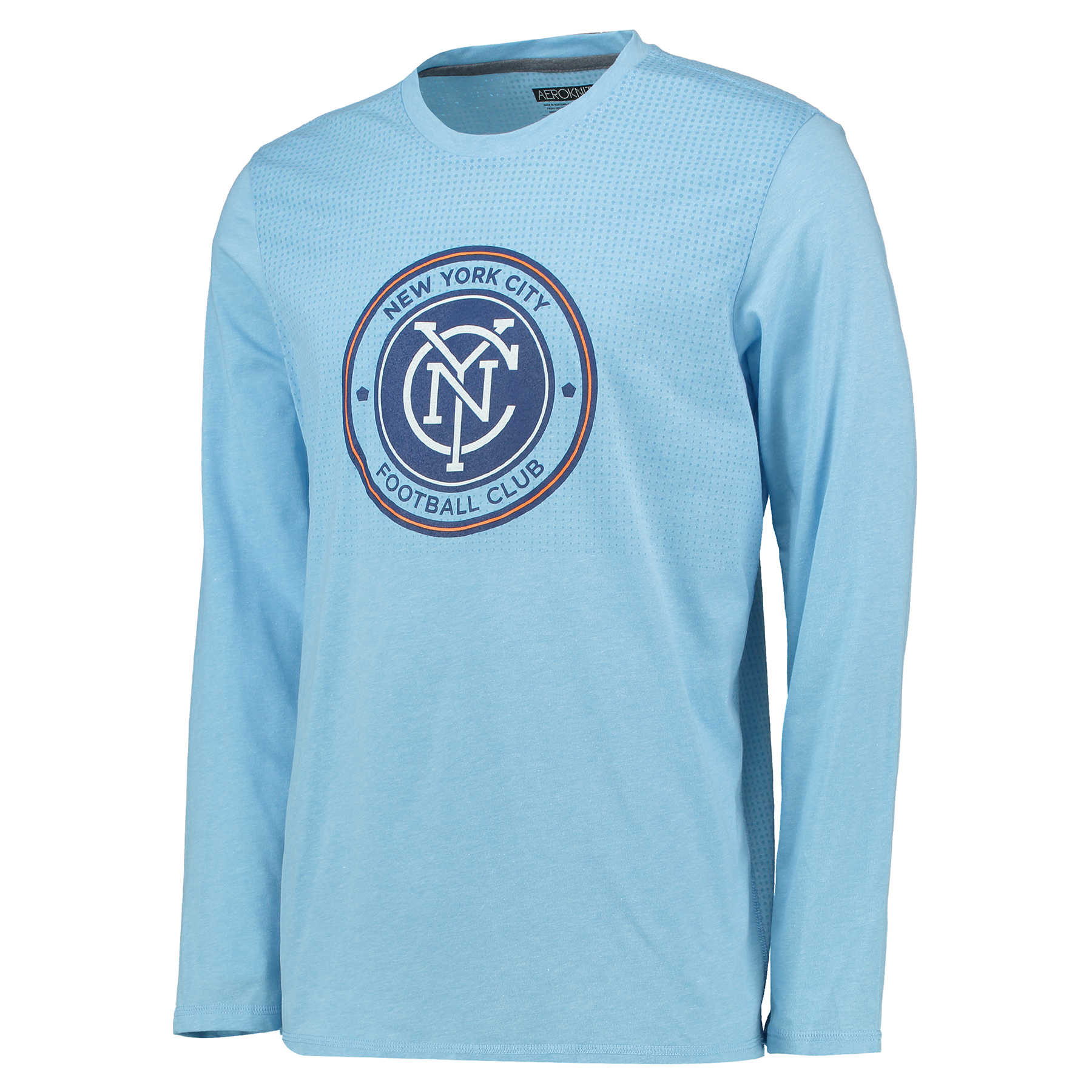 Image of New York City FC Crest Authentic T-Shirt - Long Sleeve Sky Blue, Blue