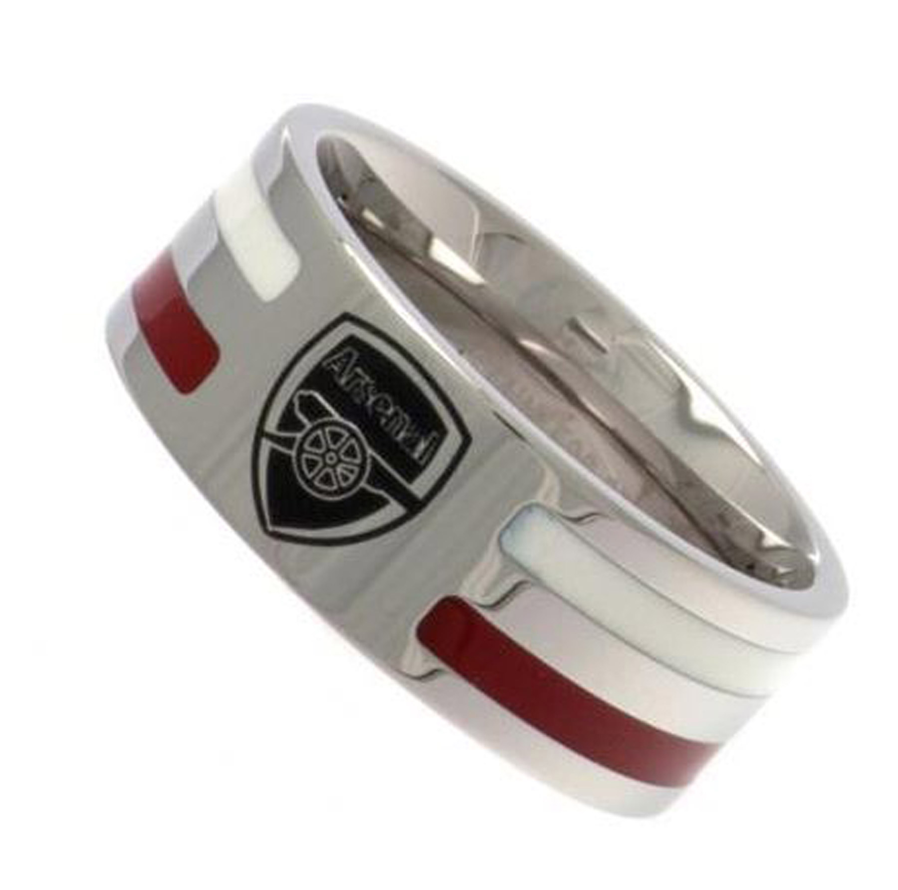 Arsenal Colour Stripe Crest Band Ring - Stainless Steel, N/A
