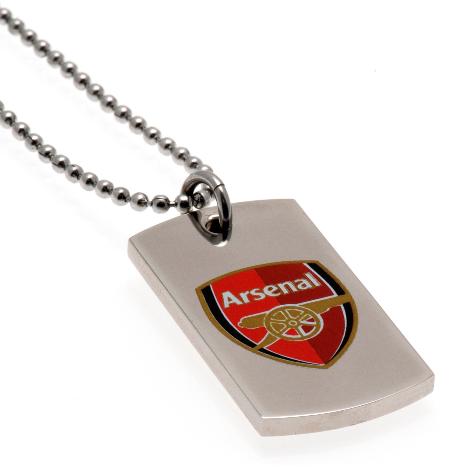 Arsenal Colour Crest Dog Tag & Chain - Stainless Steel, N/A