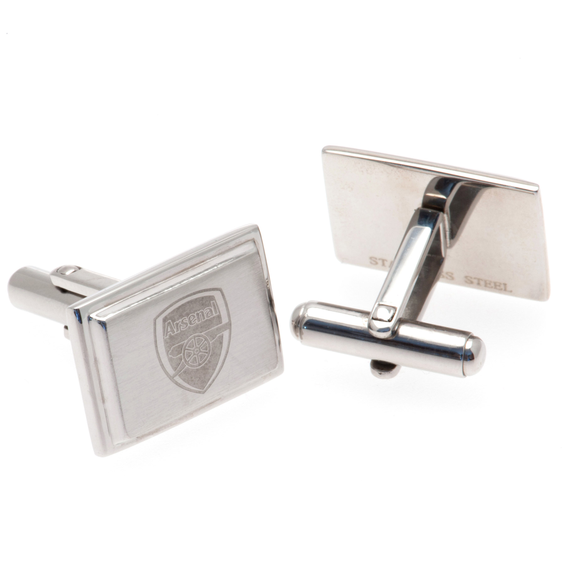 Image of Arsenal Rectangle Crest Cufflinks - Stainless Steel, N/A