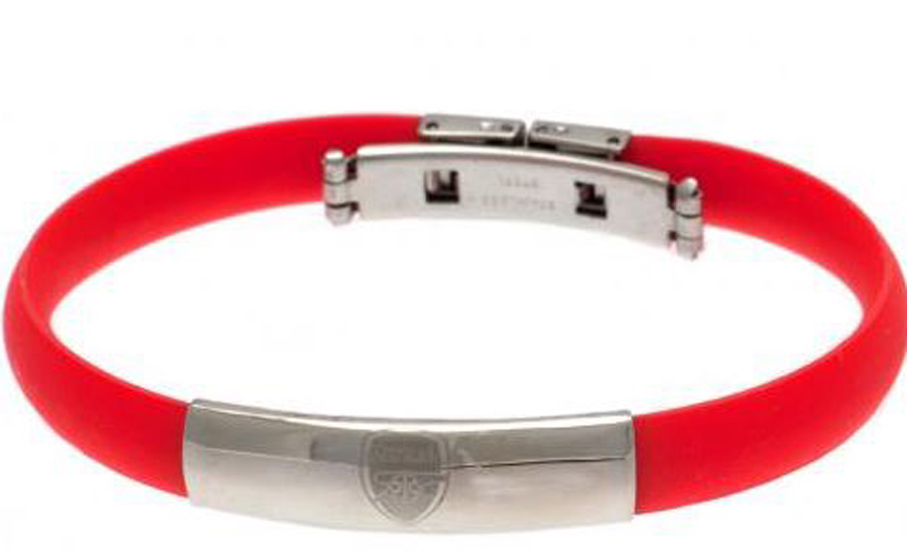 Image of Arsenal Crest Rubber Band Bracelet - Stainless Steel, N/A