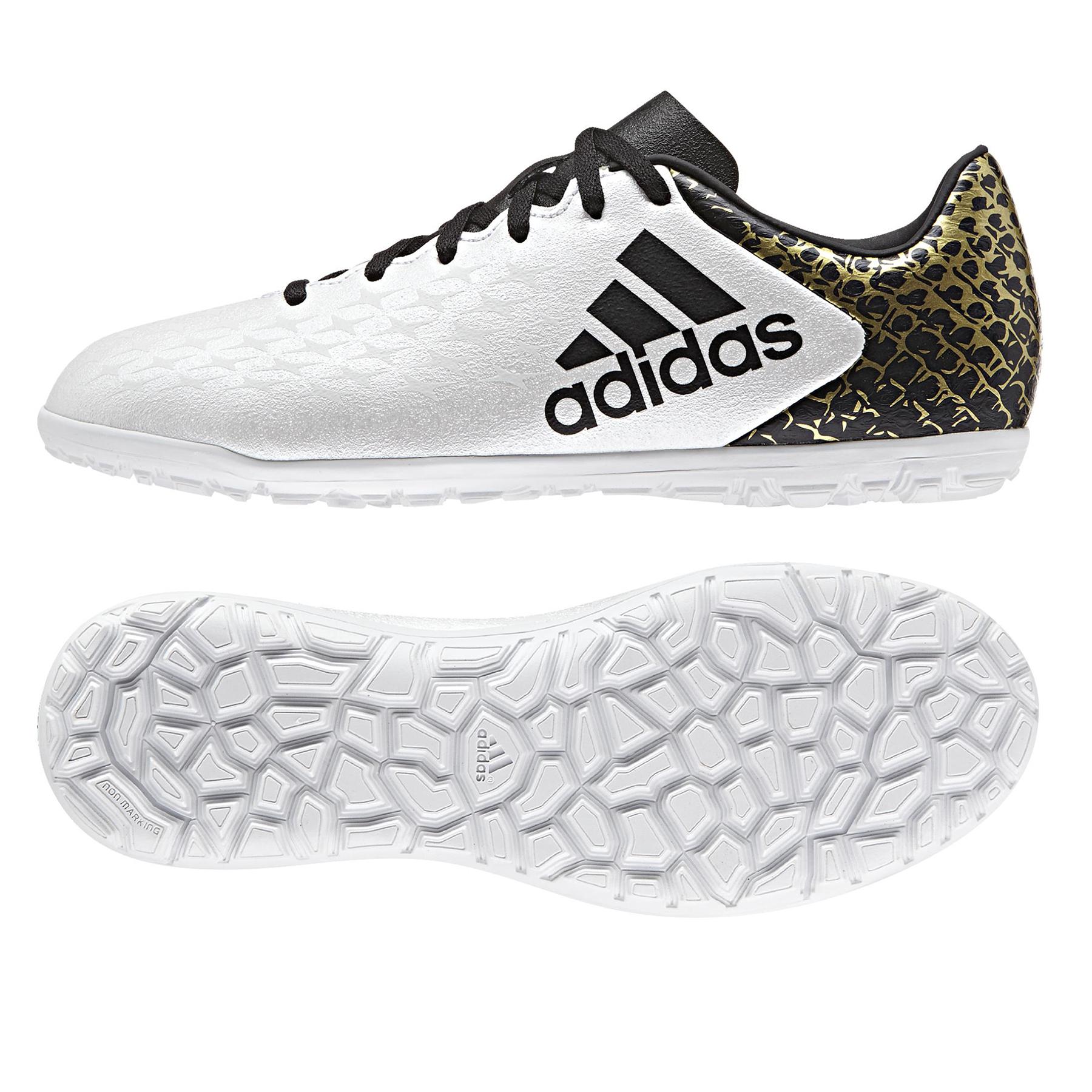 adidas X 16.3 Astroturf Trainers - White/Core Black/Gold Metallic - Ki