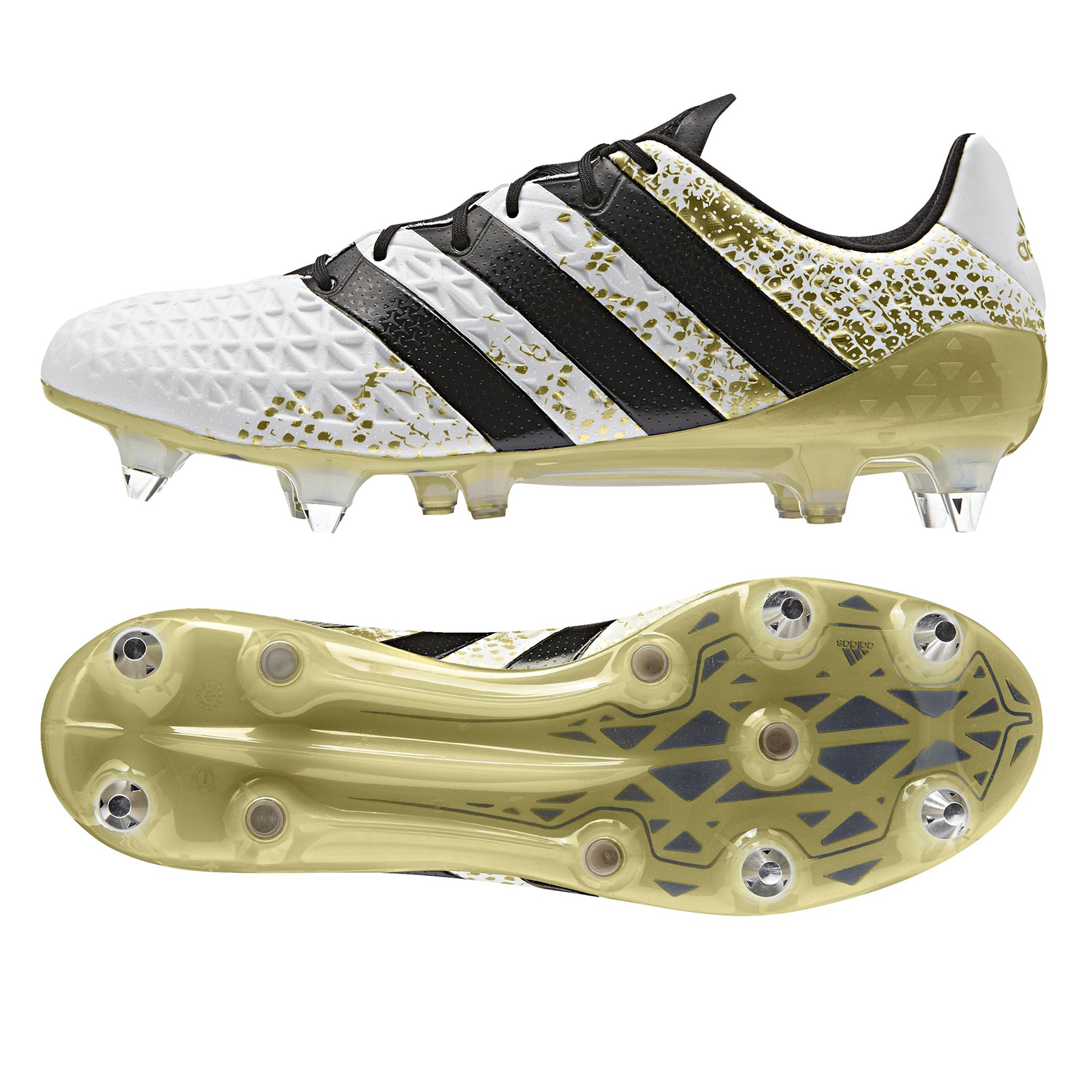 Image of adidas Ace 16.1 Soft Ground Football Boots - White/Core Black/Gold Met