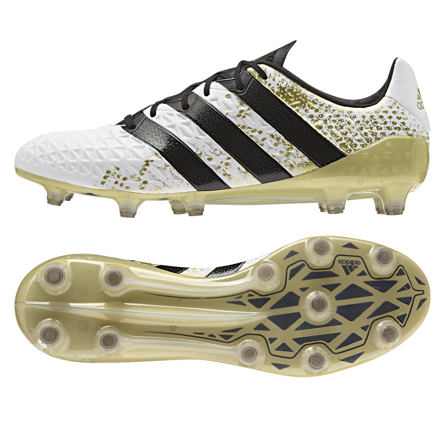Image of adidas Ace 16.1 Firm Ground Football Boots - White/Core Black/Gold Met