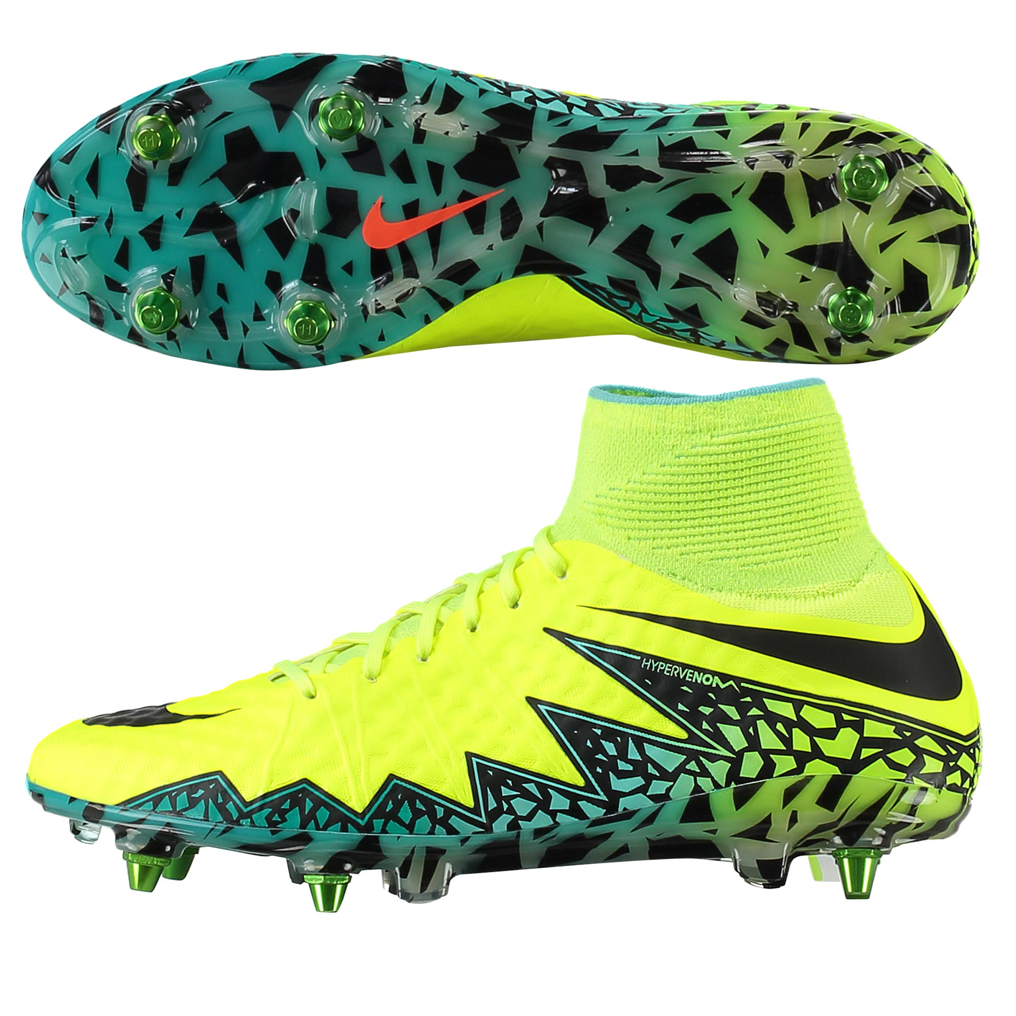 Nike Hypervenom Phantom II Soft Ground-Pro Football Boots - Volt/Black