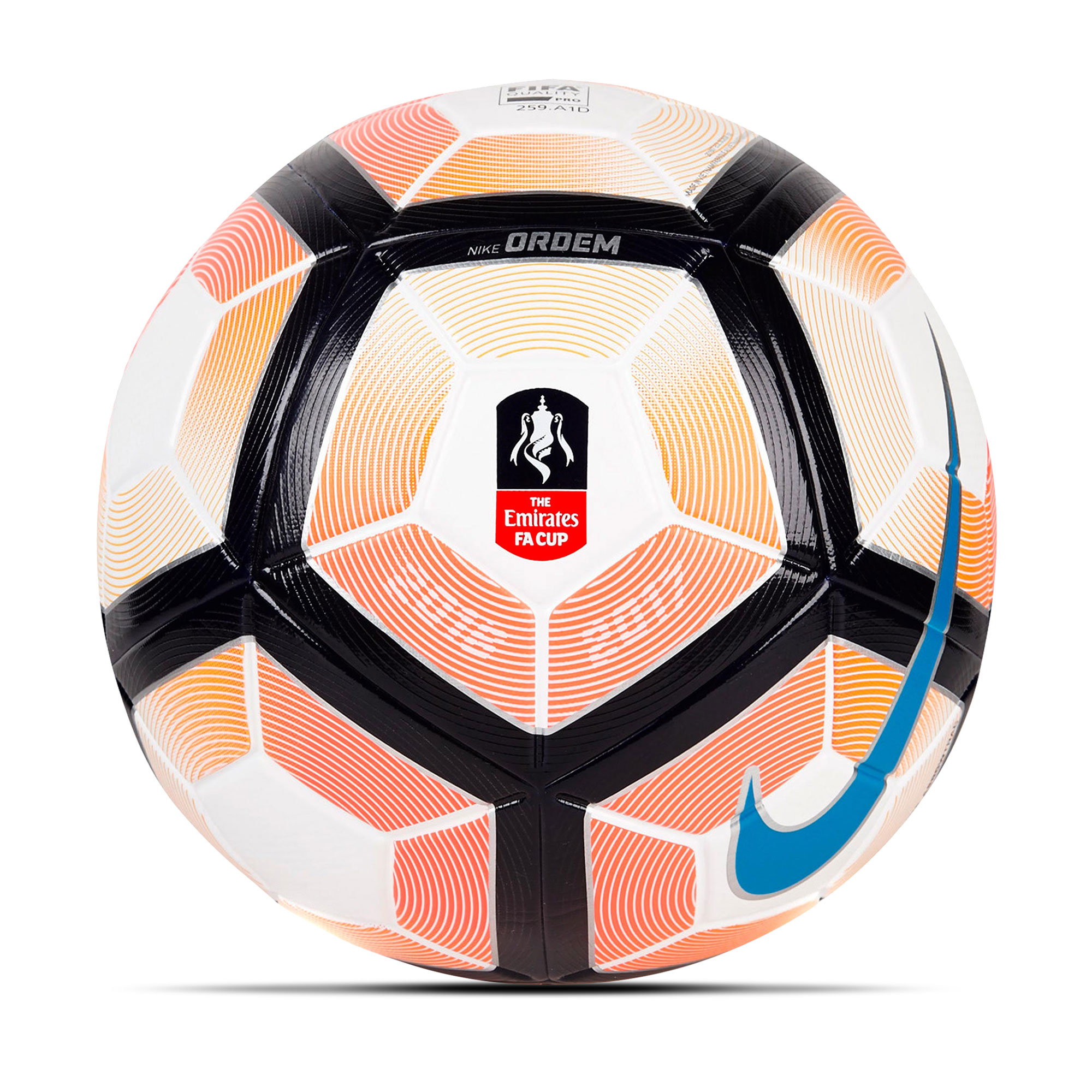 Nike Ordem 4 FA Cup Football - White/Bright Mango/Cyan - Size 5