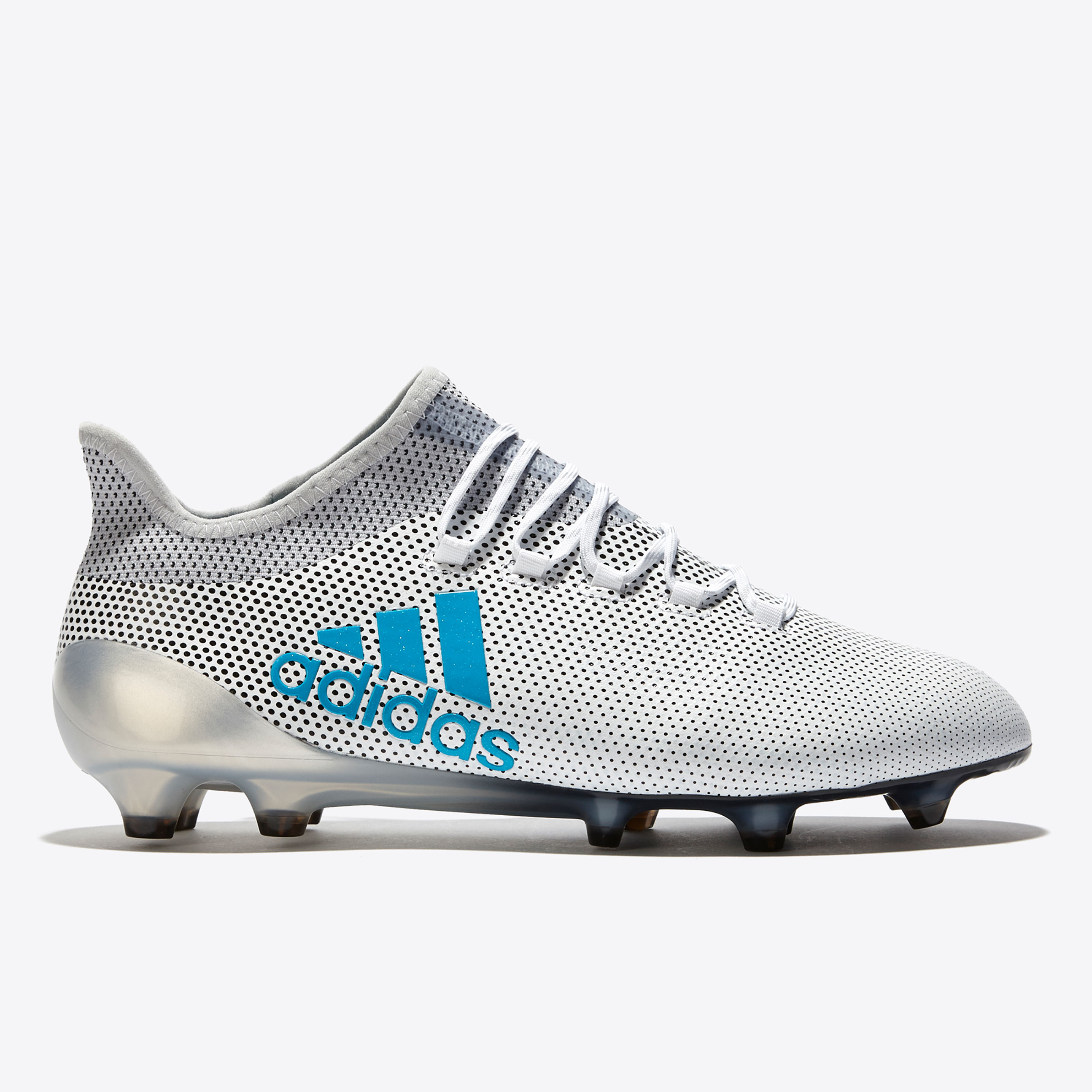 adidas X 17.1 Firm Ground Football Boots - White/Energy Blue/Clear Gre