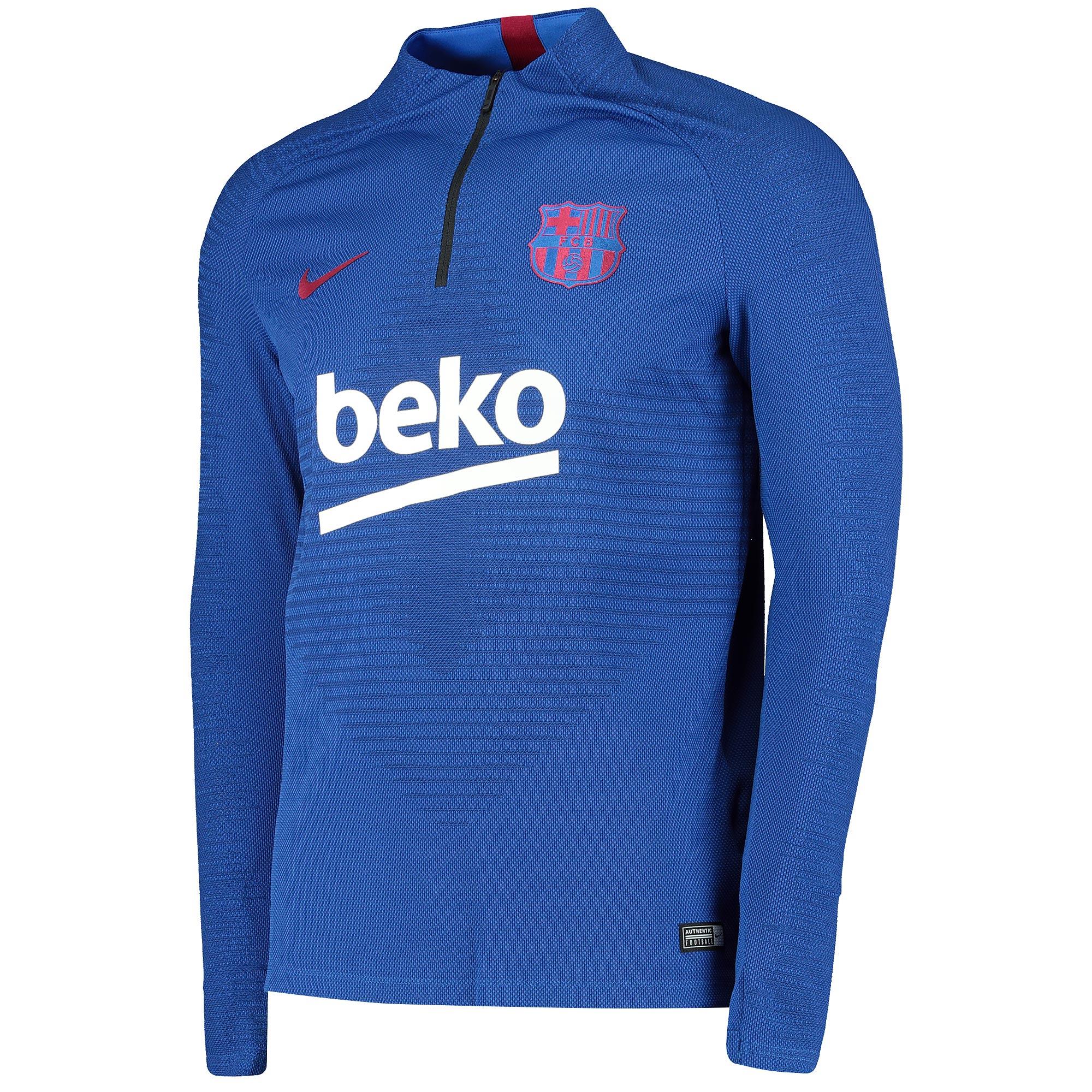 Camiseta de entrenamiento con logotipo de Nike VaporKnit Drill del Barcelona - azul