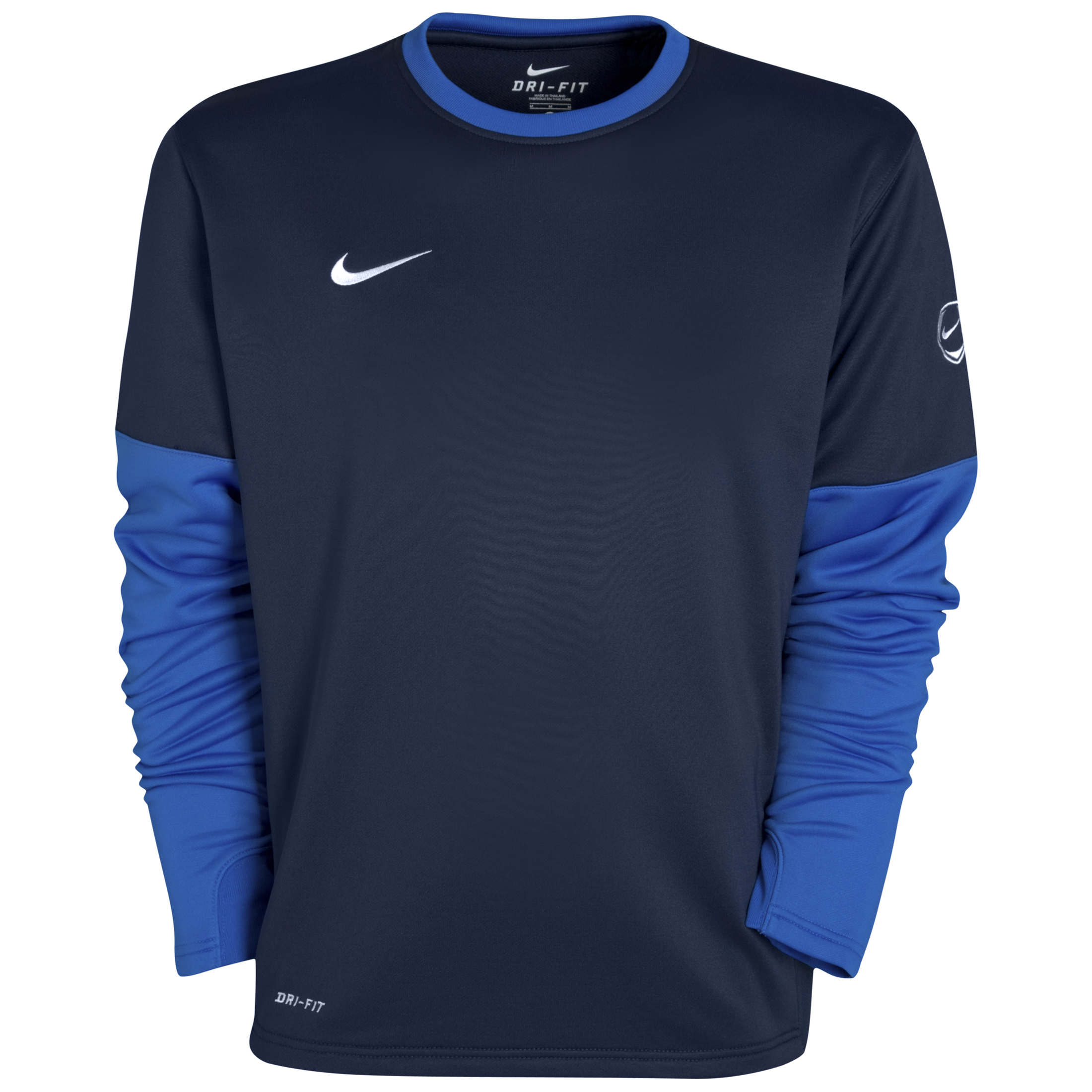 Nike Club Crew Top - Obsidian/Royal Blue/White - Long Sleeved   - Obsidian/Royal Blue/White