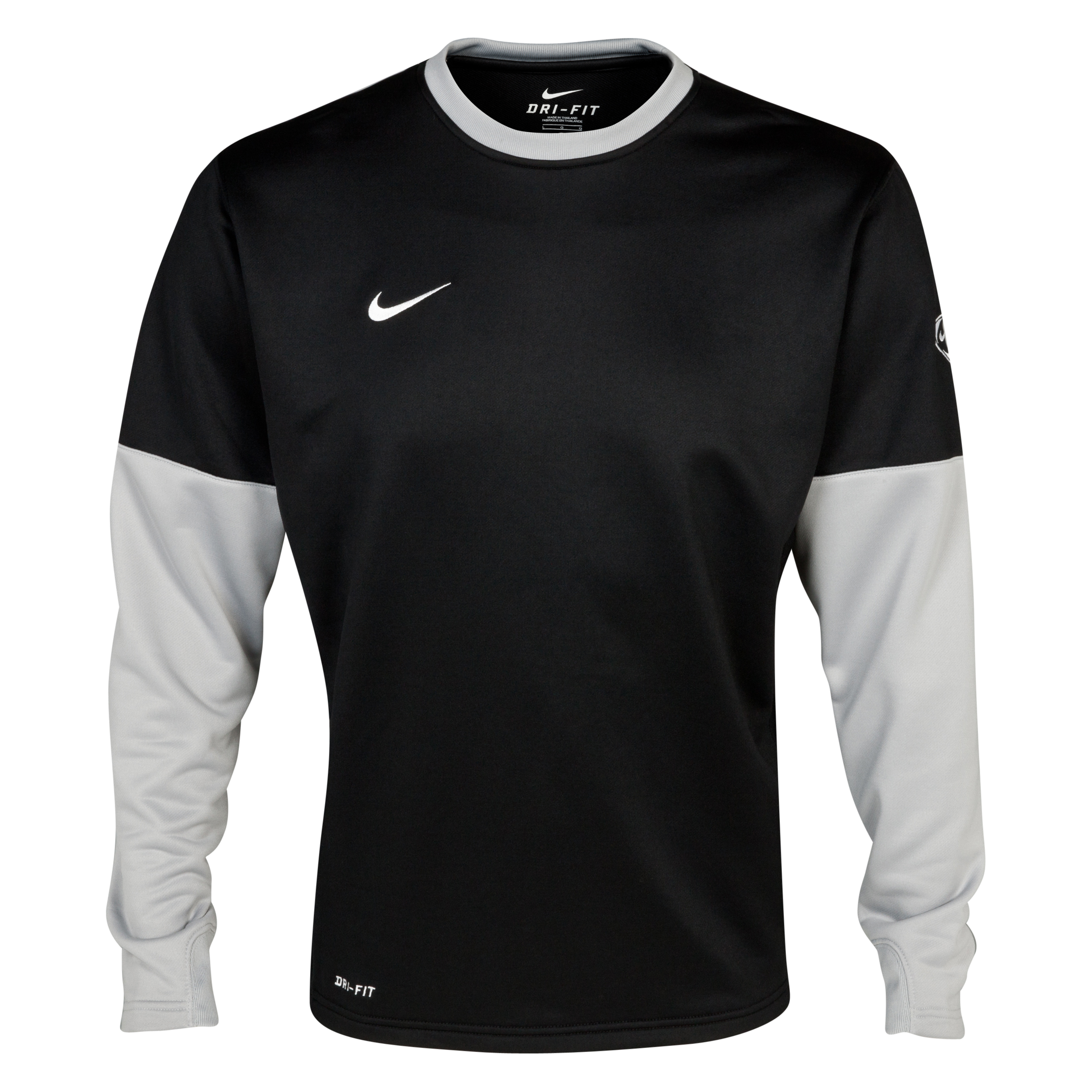 Nike Club Crew Top - Black/Silver/White - Long Sleeved   - Black/Silver/White