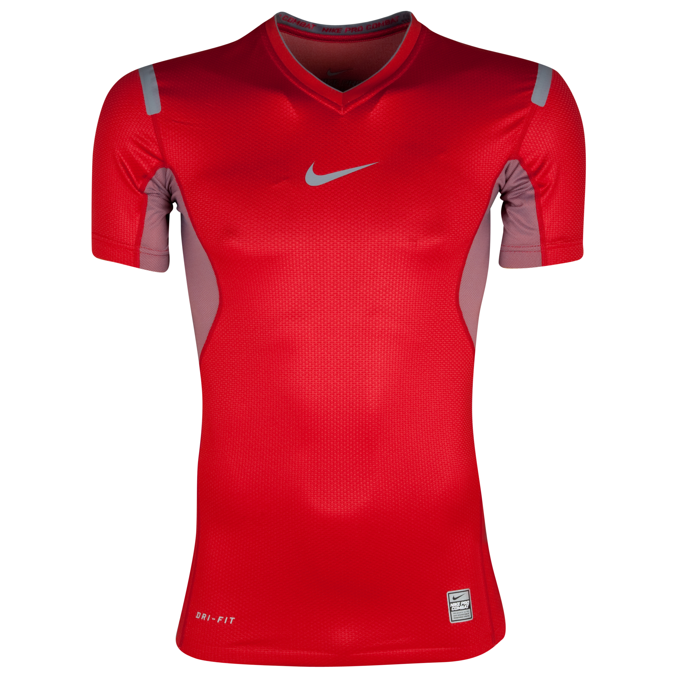 Nike Pro Vapor Ss V-Neck Top Nb - Varsity Red/Cool Grey