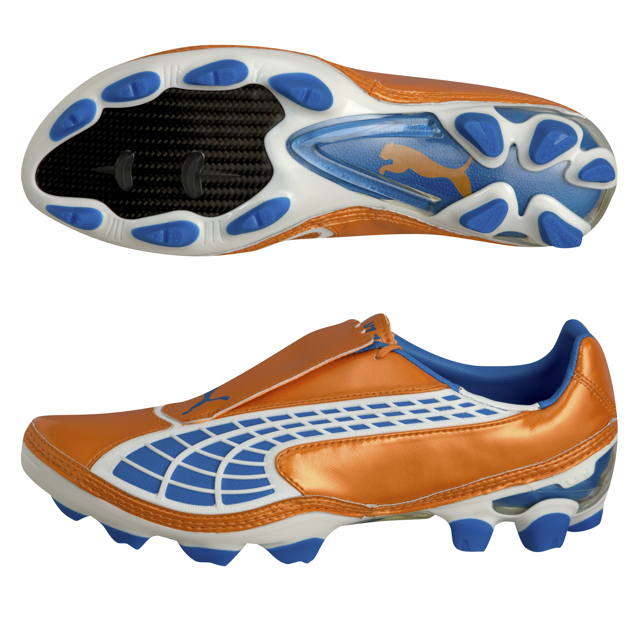 Puma V1.10 II I Firm Ground Football Boots - Fluoescent Orange/Blue Aster/White