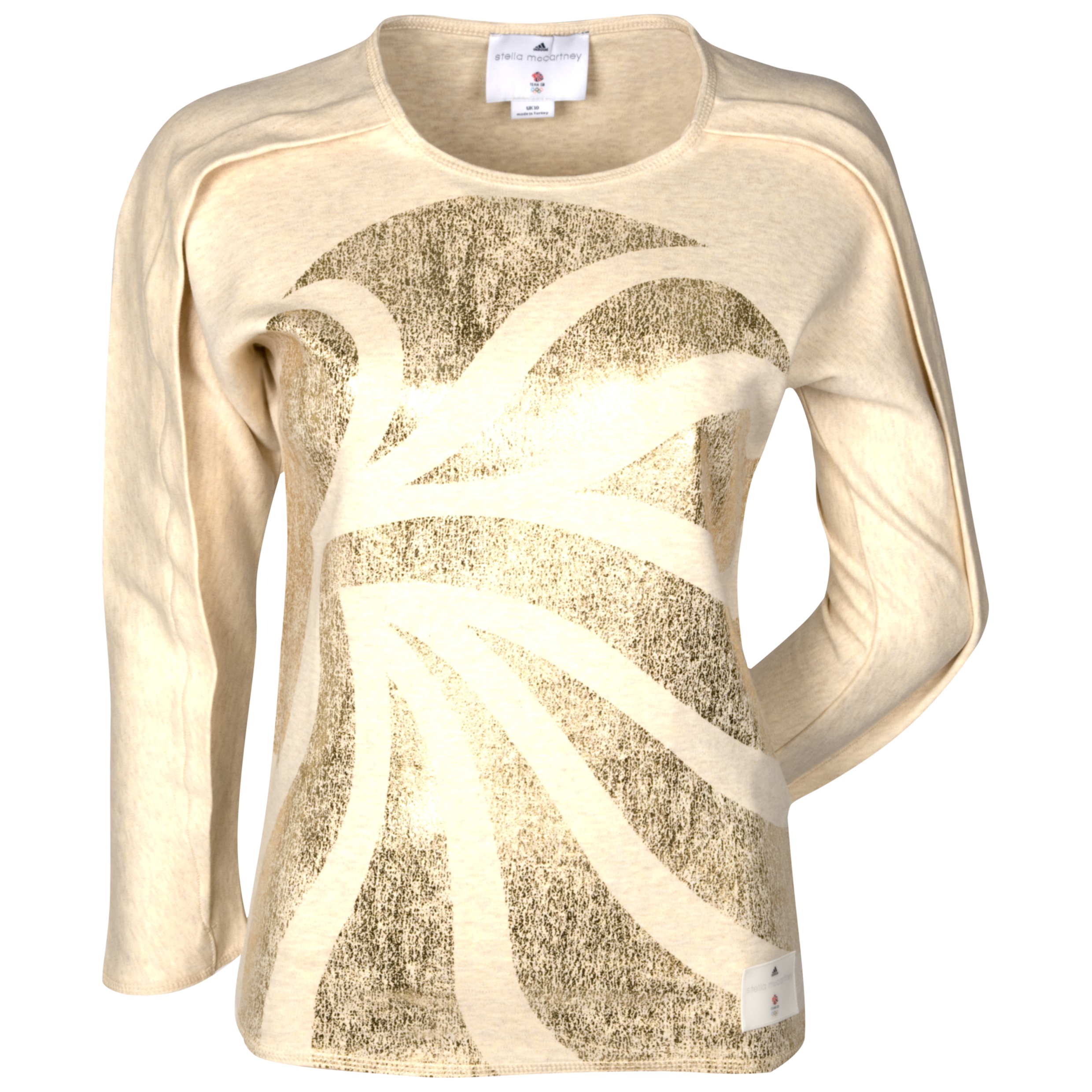 adidas Team GB Gold 3/4 Sleeve Top - Sandcastle Melange/Metal Gold - Womens