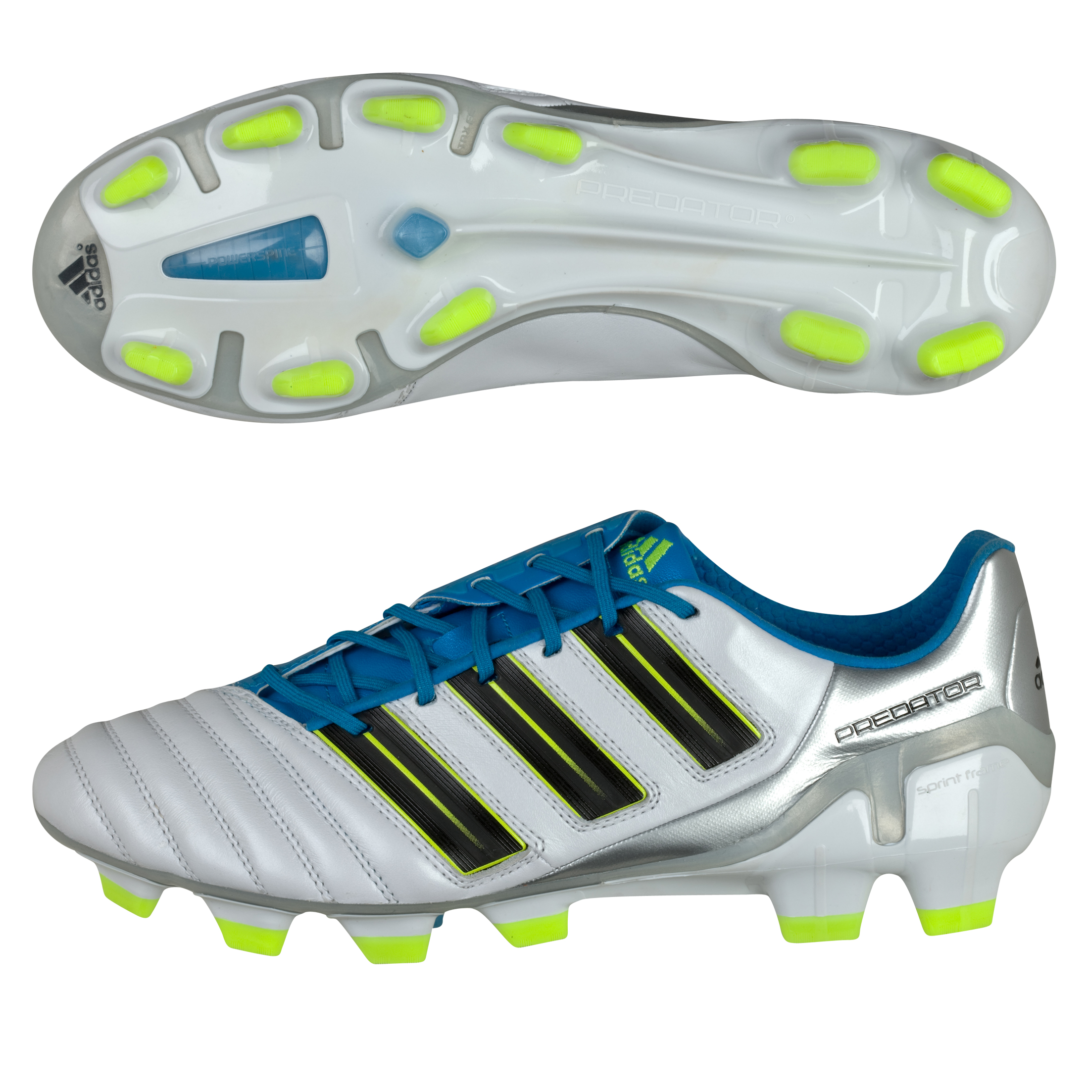 adipower Predator TRX FG White/Black/Metallic Blue