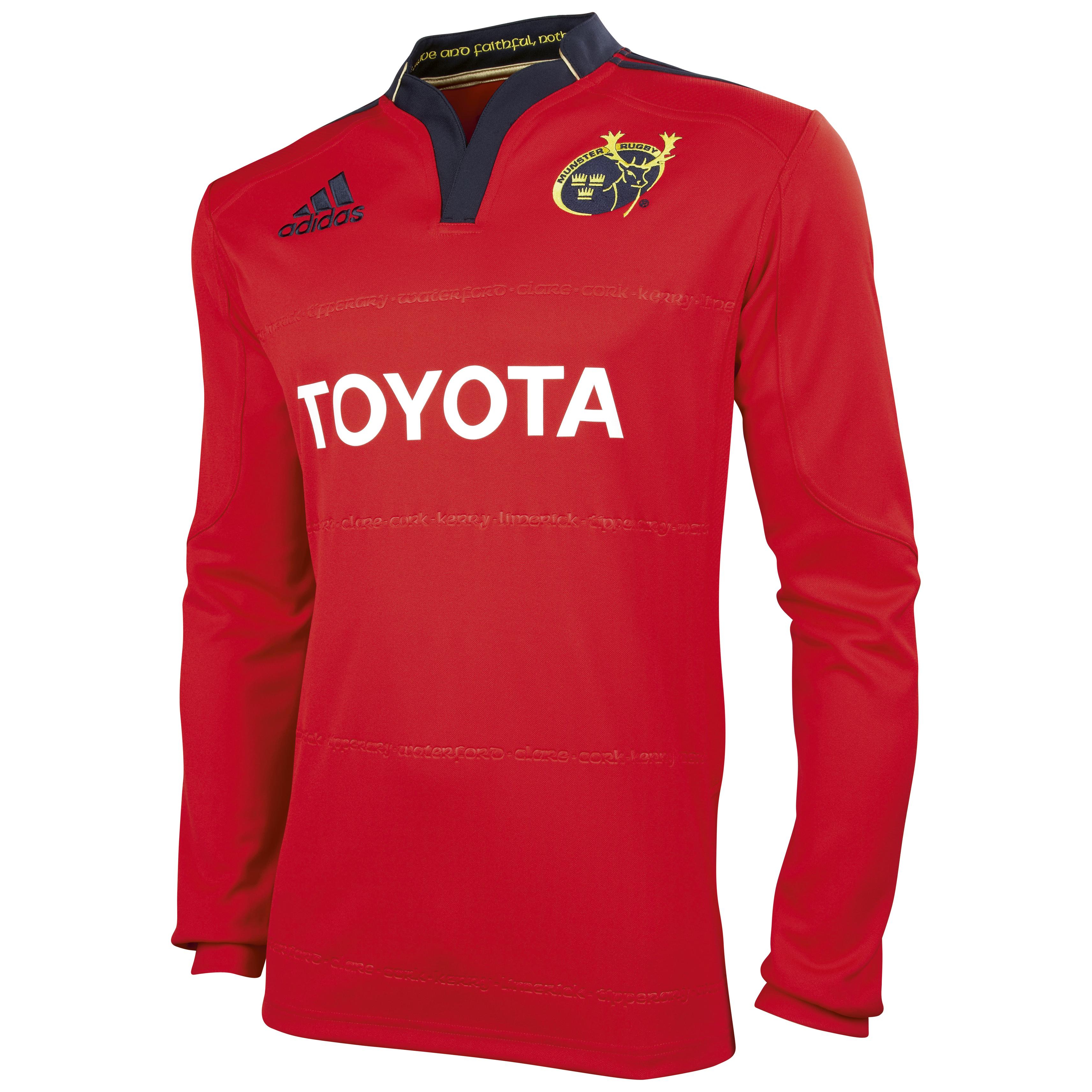 Munster Home Shirt 2011/12 - Long Sleeved - Collegiate Red/Dark Navy. for 60€