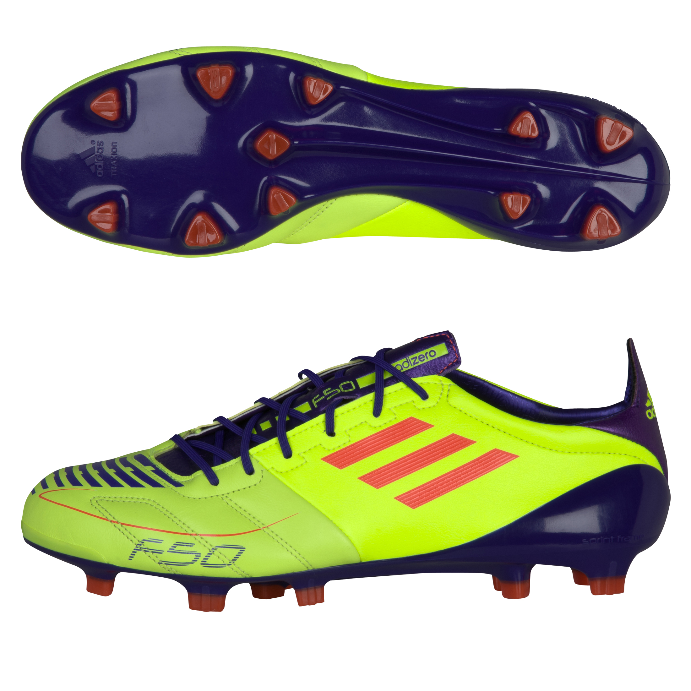 F50 adizero TRX FG Leather Electricity / Infrared / Anodized Purple