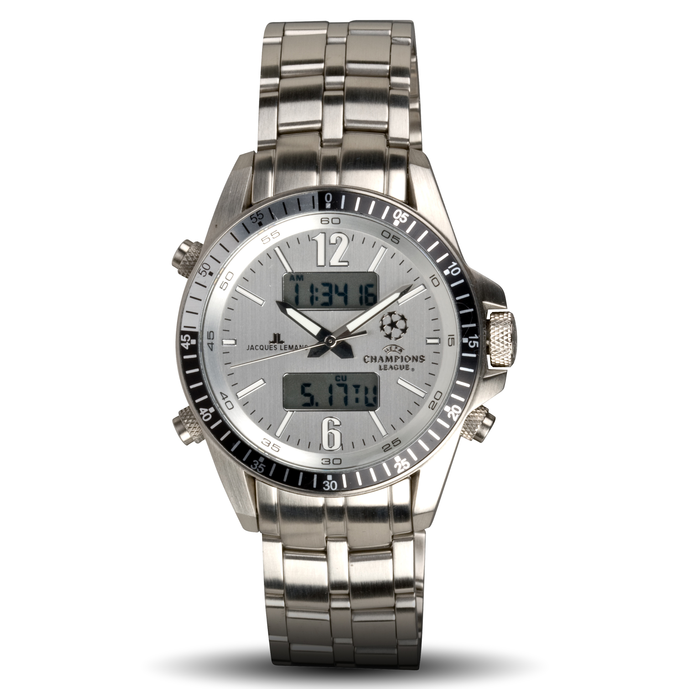 UEFA Champions League Dual Time Stainless Steel Watch - Silver