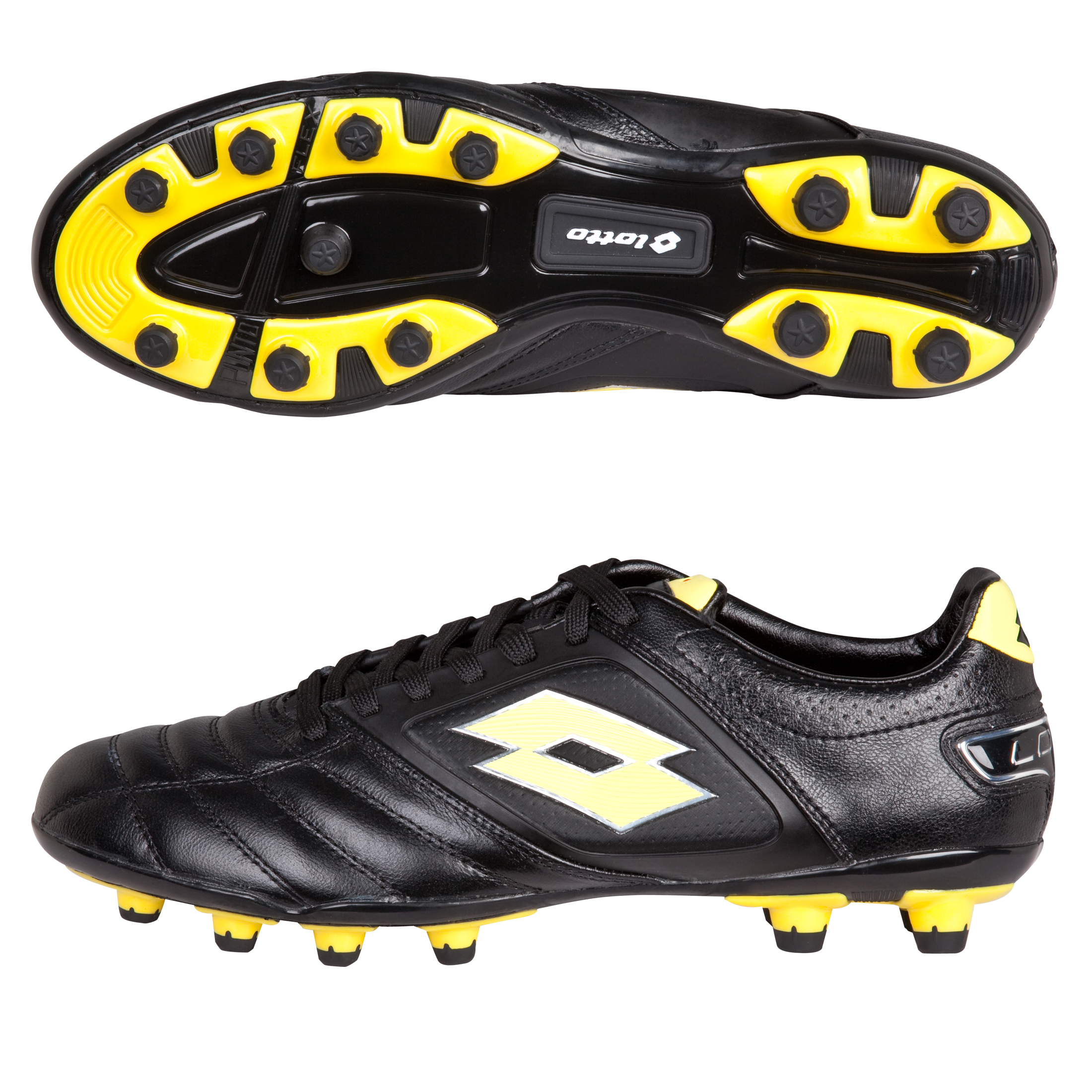 Lotto Stadio Potenza Firm Ground Football Boots - Black/Yellow Fluo