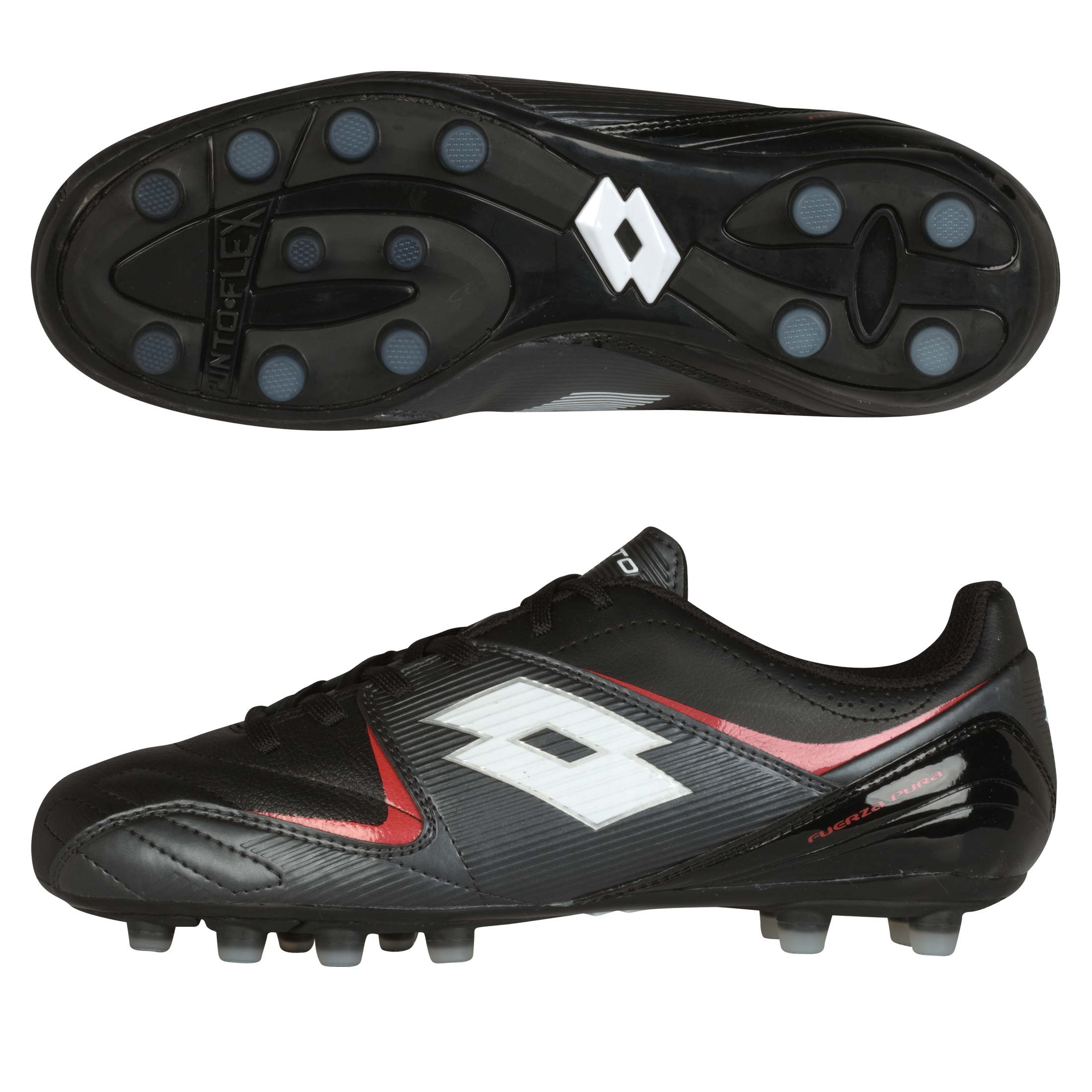 Lotto Fuerzapura II 300 Firm Ground Football Boots - Black/Graphite - Kids
