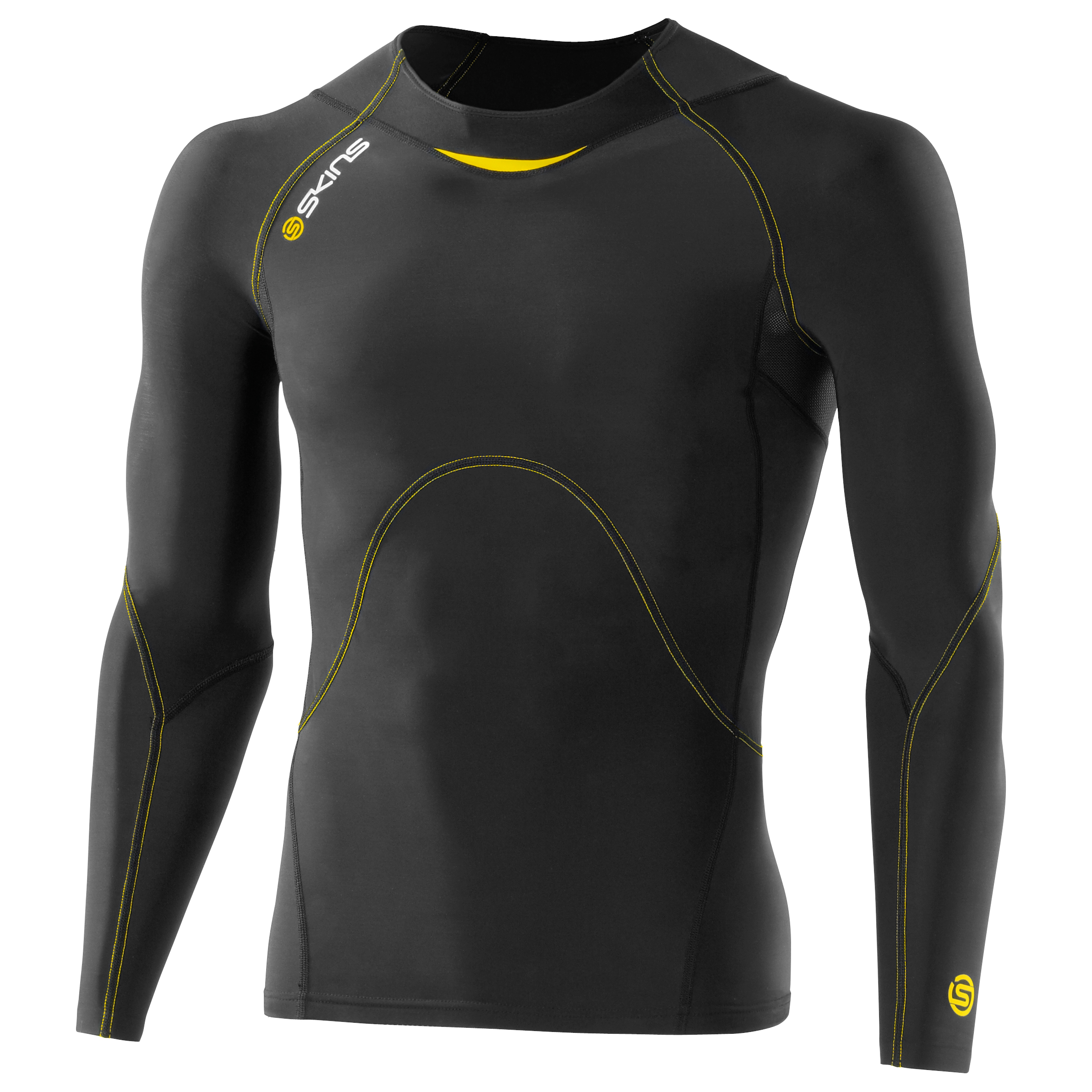 Skins A400 Active Long Sleeve Top - Black/Yellow