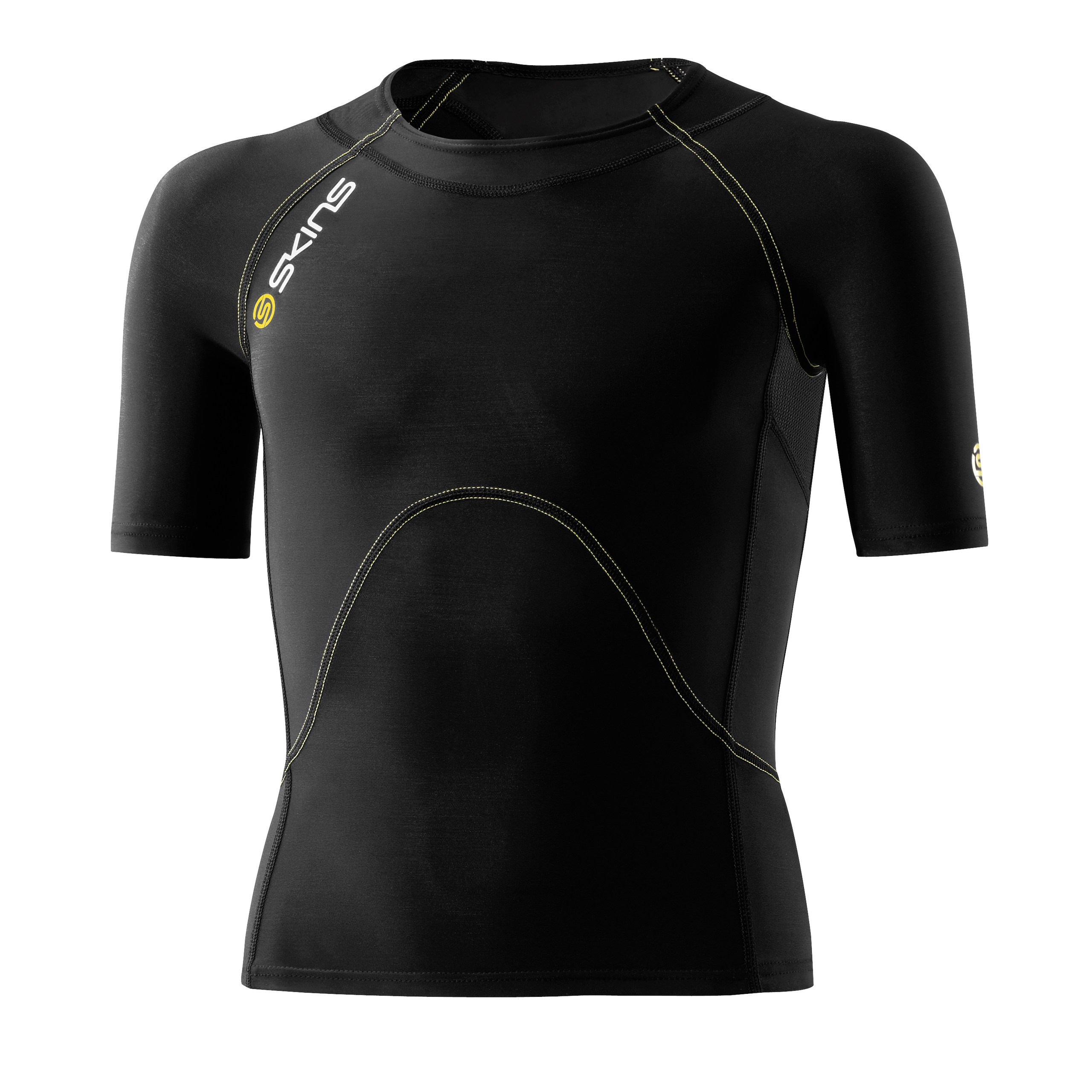 Skins A400 Active Short Sleeve Top - Black/Yellow - Kids