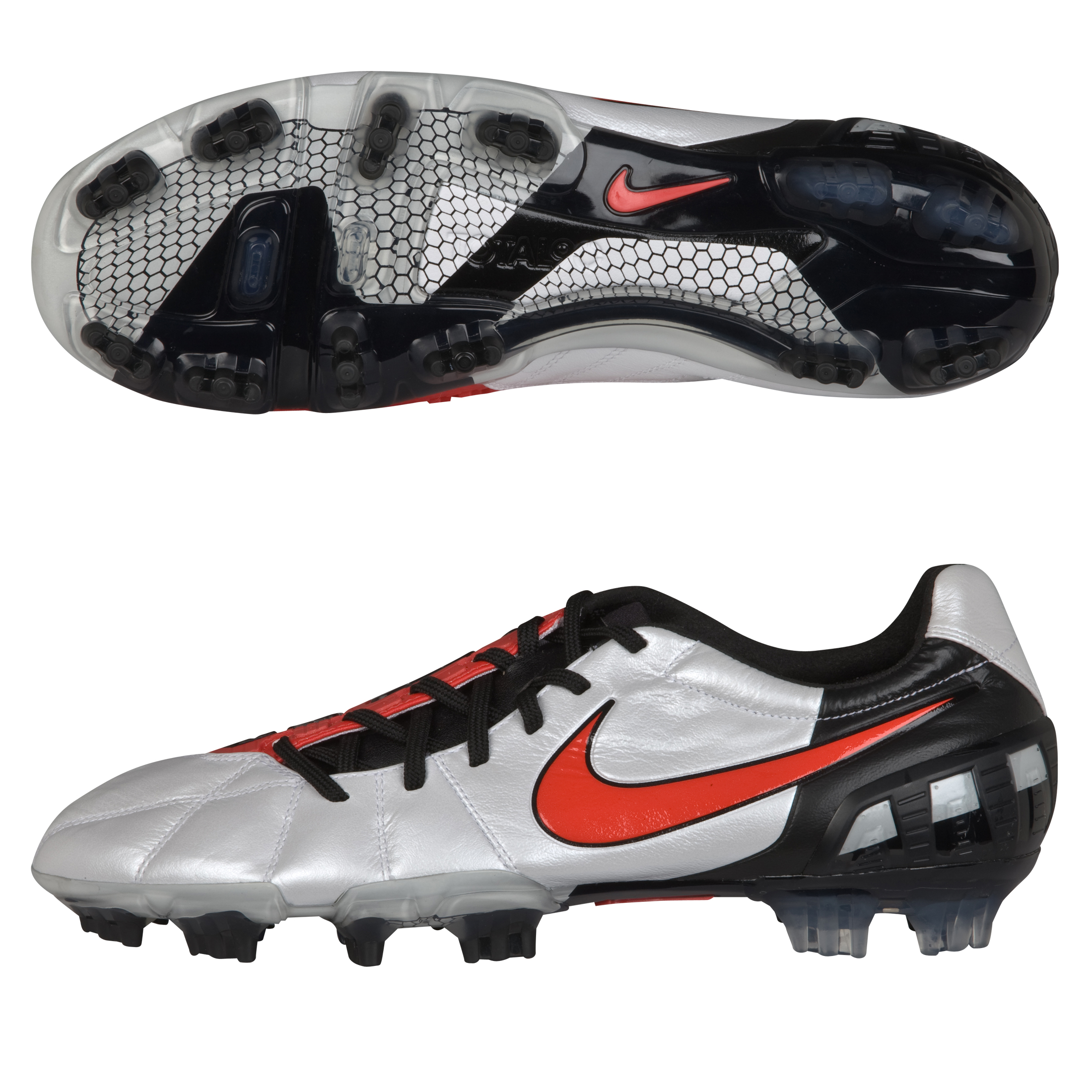 Nike T90 Laser III K-Firm Ground White/Challenge Red/Black