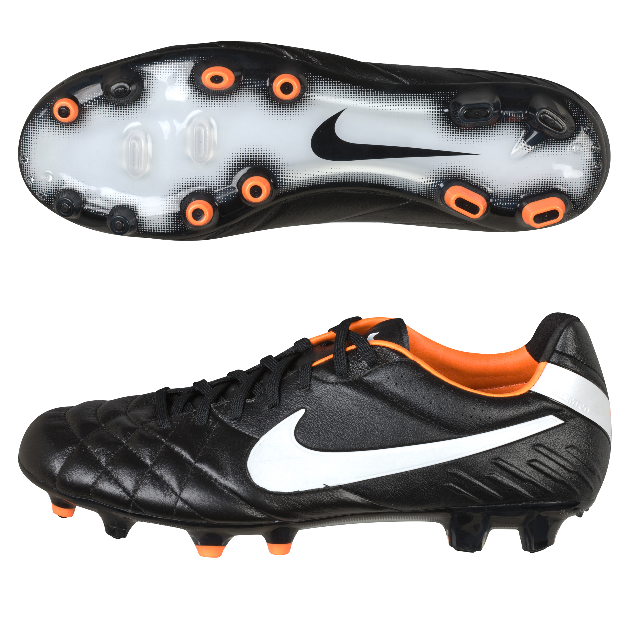 Nike Tiempo Legend IV Firm Ground Football Boots - Black/White/Total Orange
