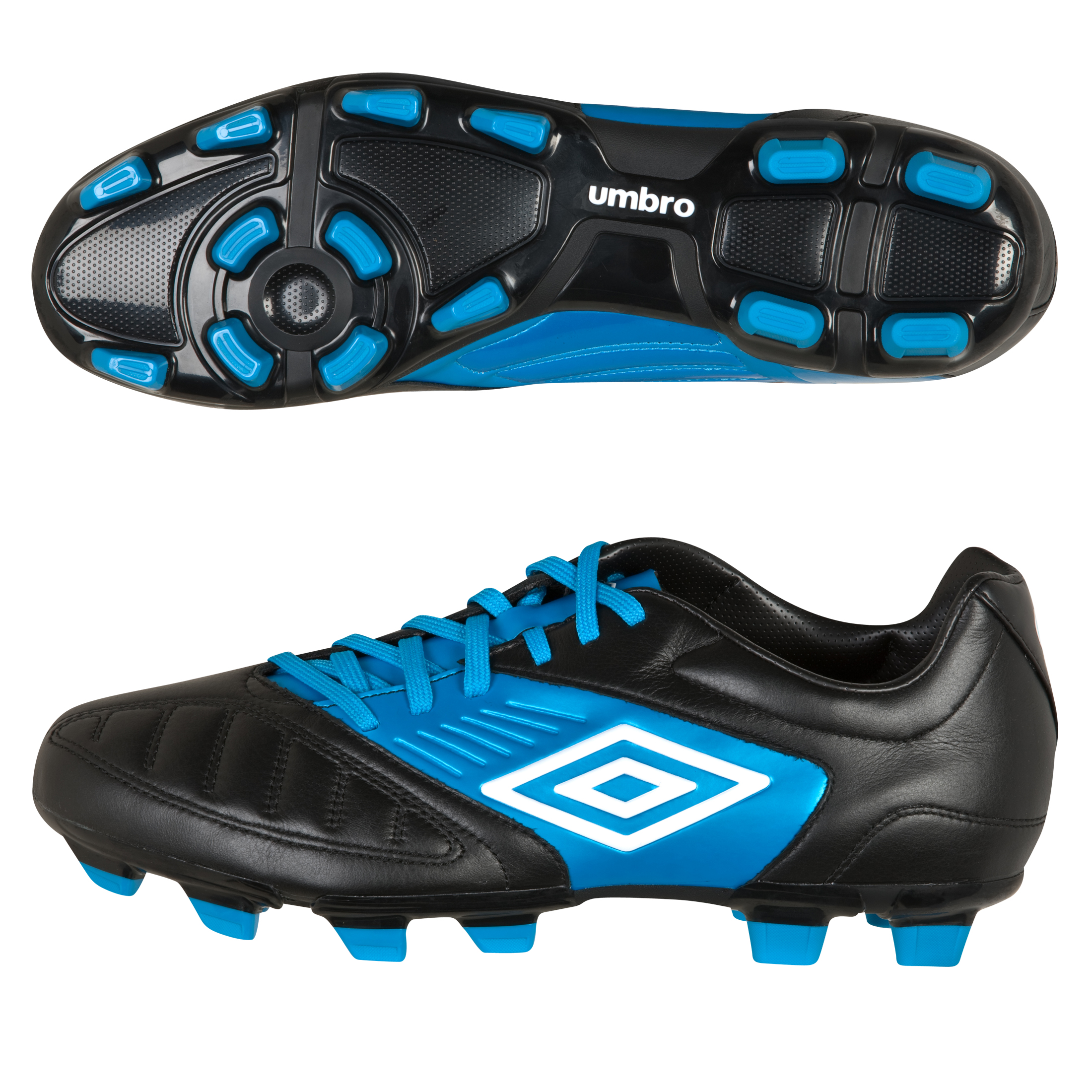 Umbro Geometra Premier Firm Ground Football Boots - Black/White/Vivid Blue - Kids