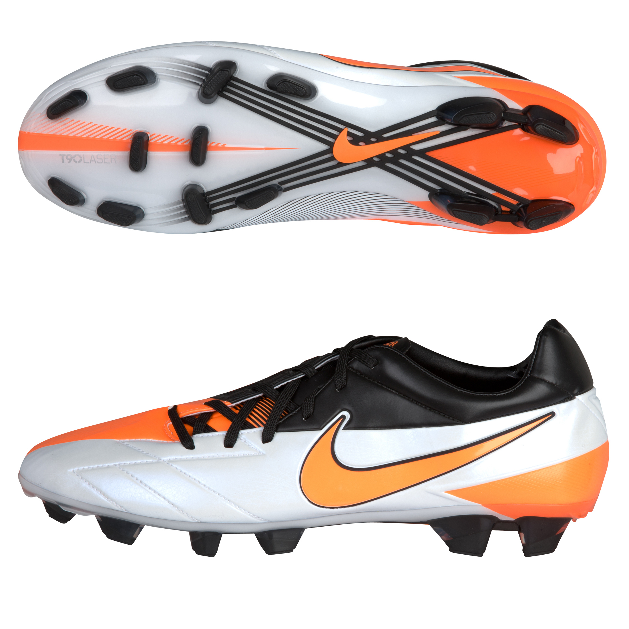 Nike T90 Laser IV Firm Ground Football Boots - White/Total Orange/Black