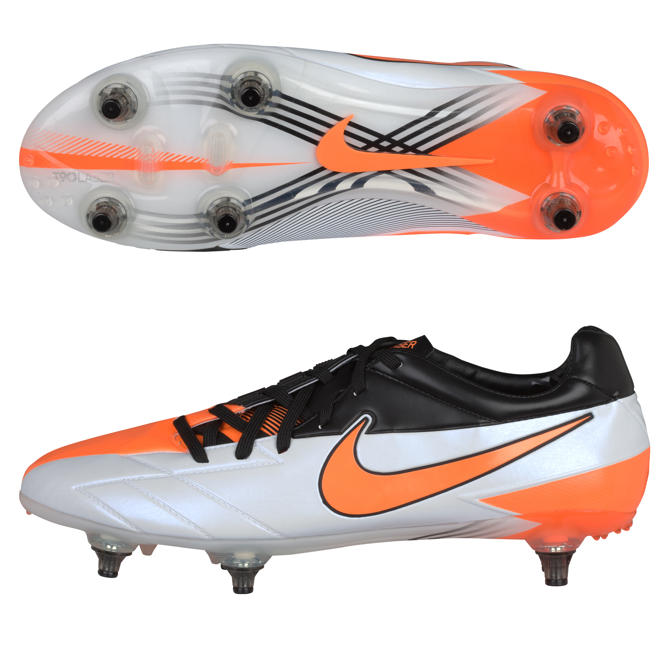 Nike Total90 Laser IV Soft Ground Football Boots - White/Total Orange/Black