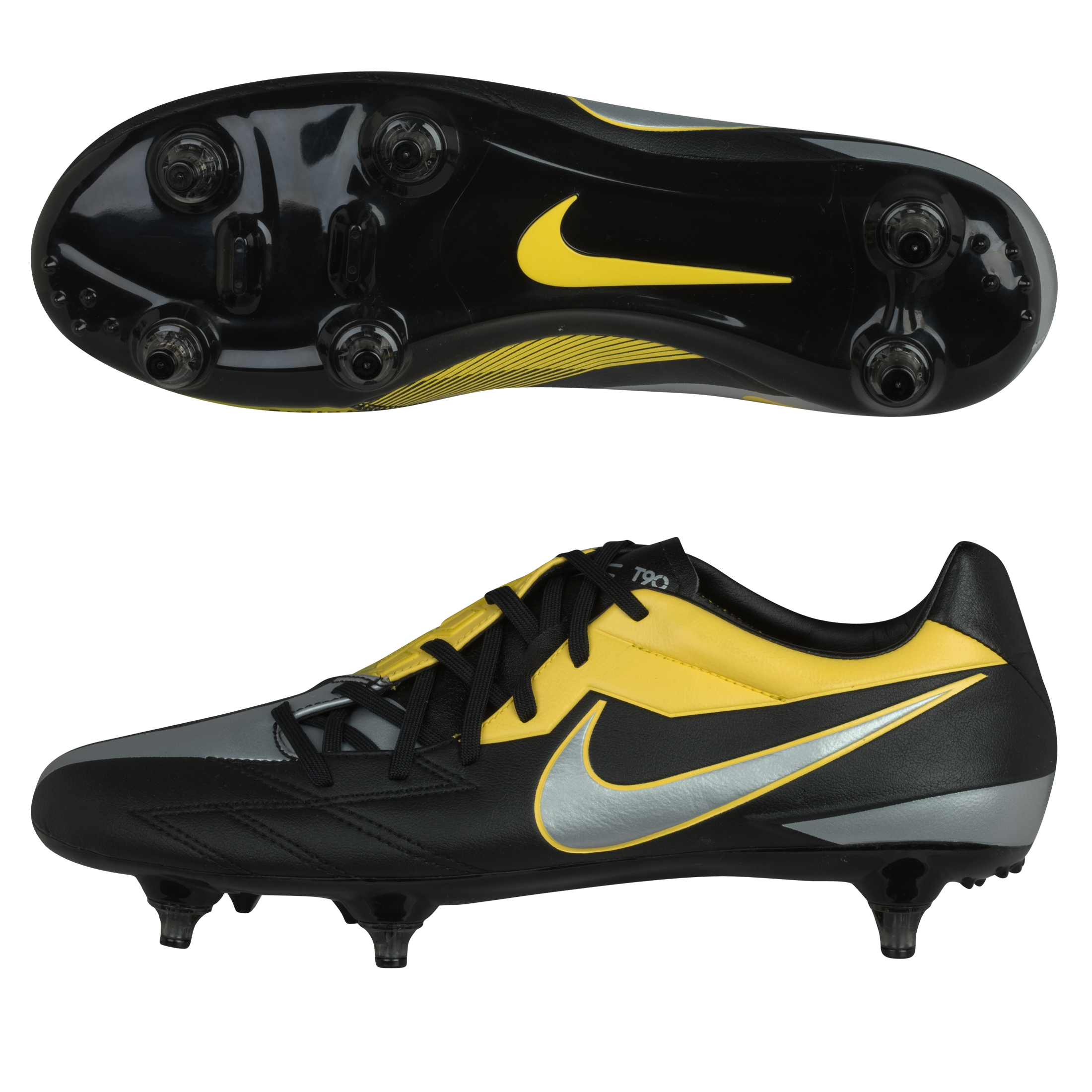 Nike Total90 Strike IV Soft Ground Football Boots - Black/Mtlc Luster/Tour Yellow