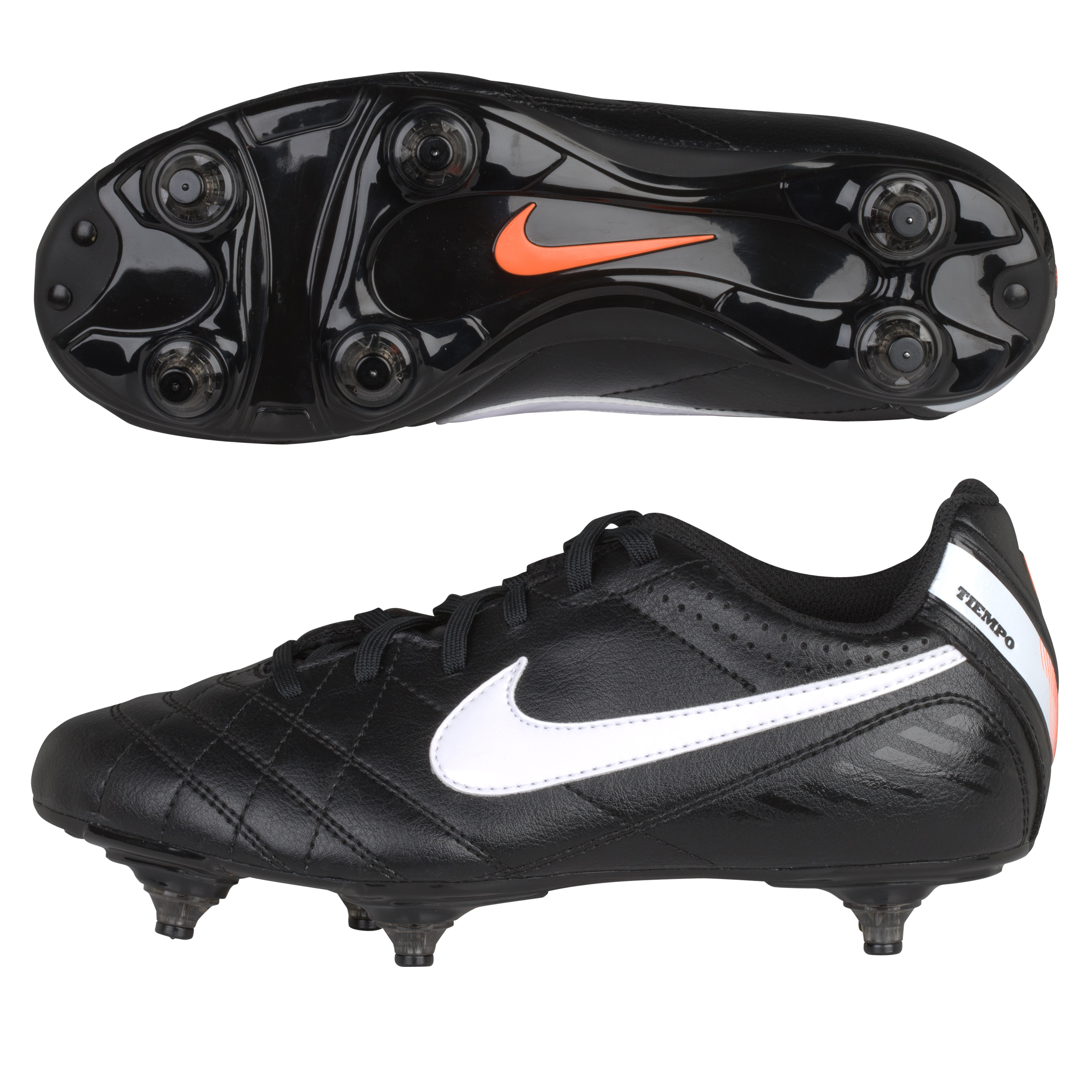 Nike Tiempo Natural IV Soft Ground Football Boots - Black/White/Total Orange - Kids