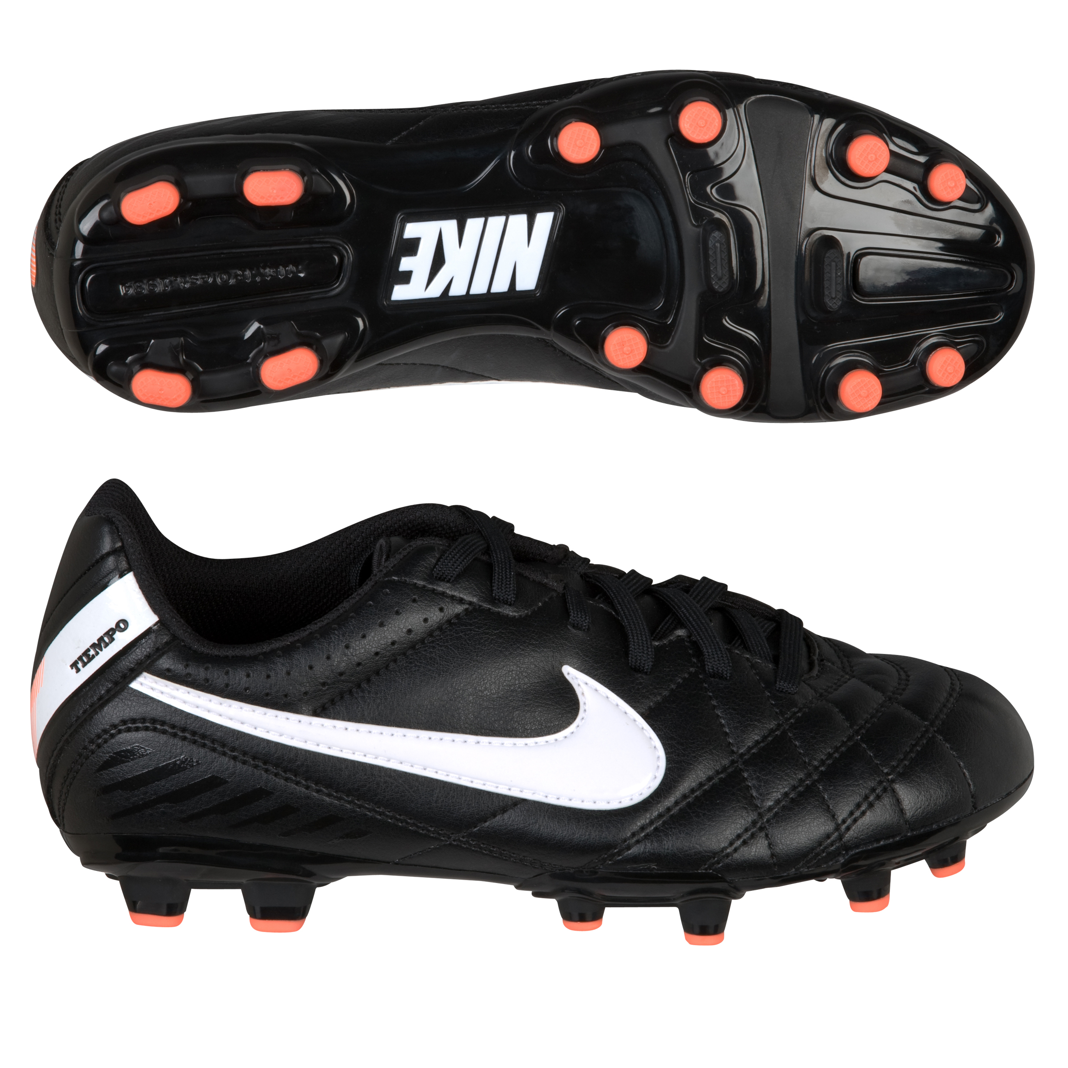 Nike Tiempo Natural IV Firm Ground Football Boots - Black/White/Total Orange - Kids