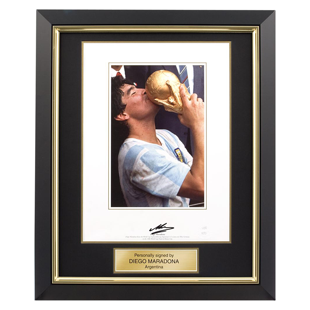 Maradona Signed Photo - Framed