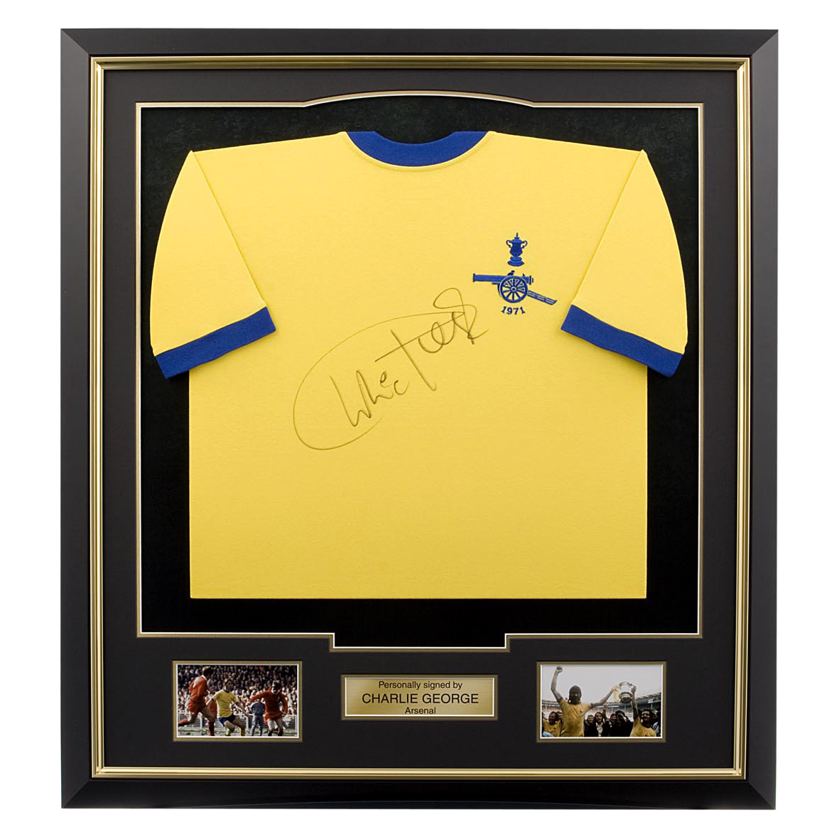Arsenal Signed Charlie George Shirt - Framed
