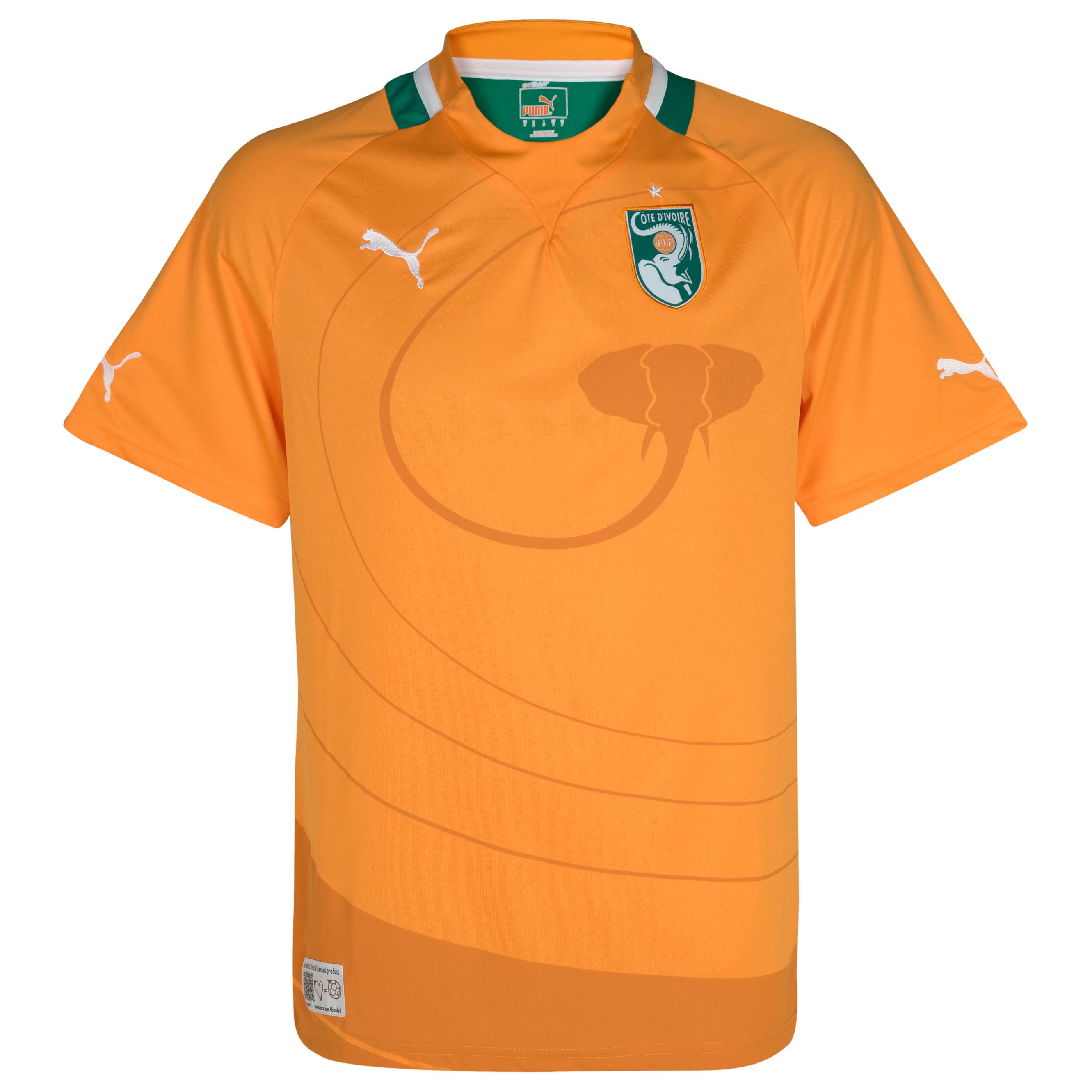 Ivory Coast Home Shirt 2011/13 - Flame Orange/Pepper Green