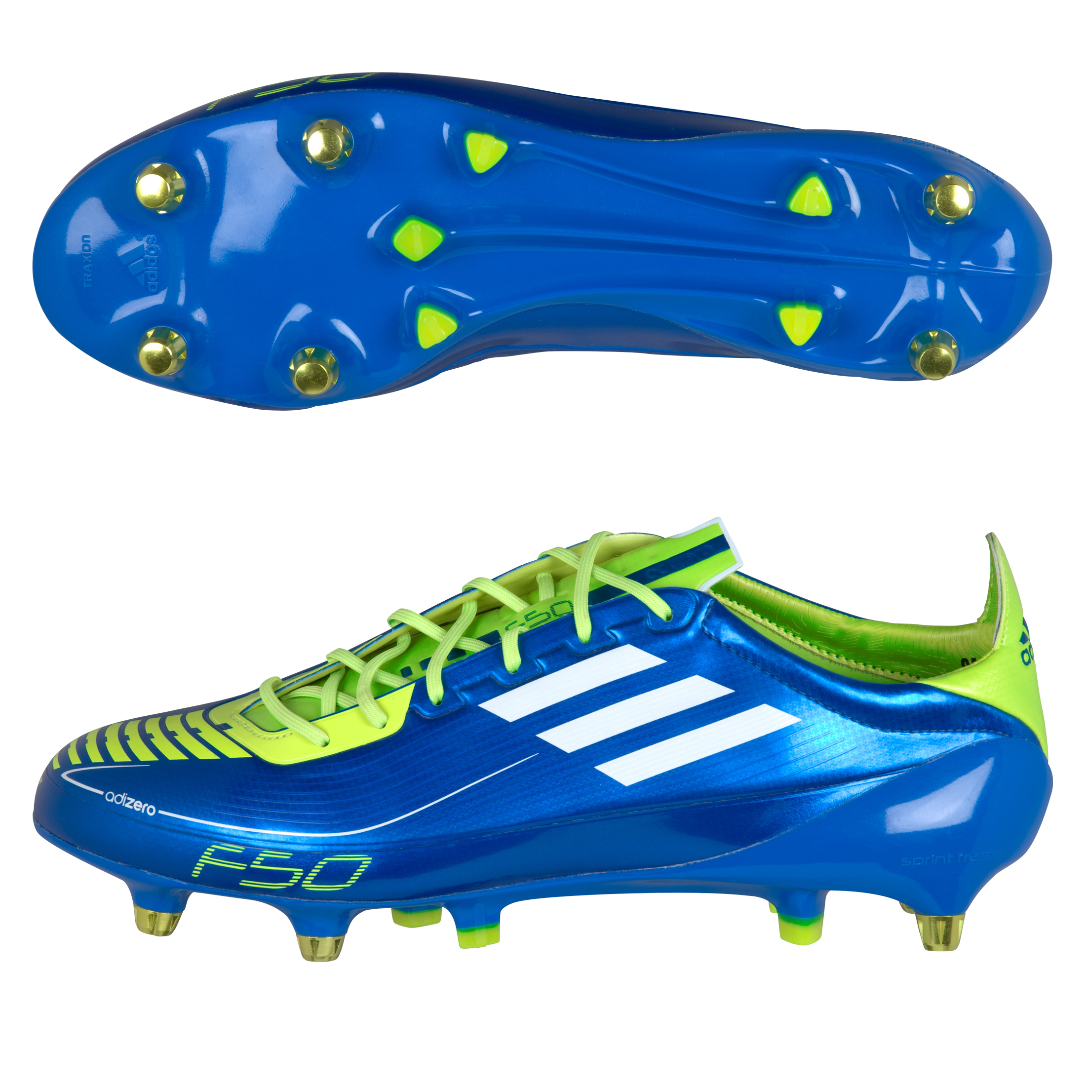 adidas F50 adizero TRX Soft Ground Synthetic Football Boots - Anodized Blue / White / Slime