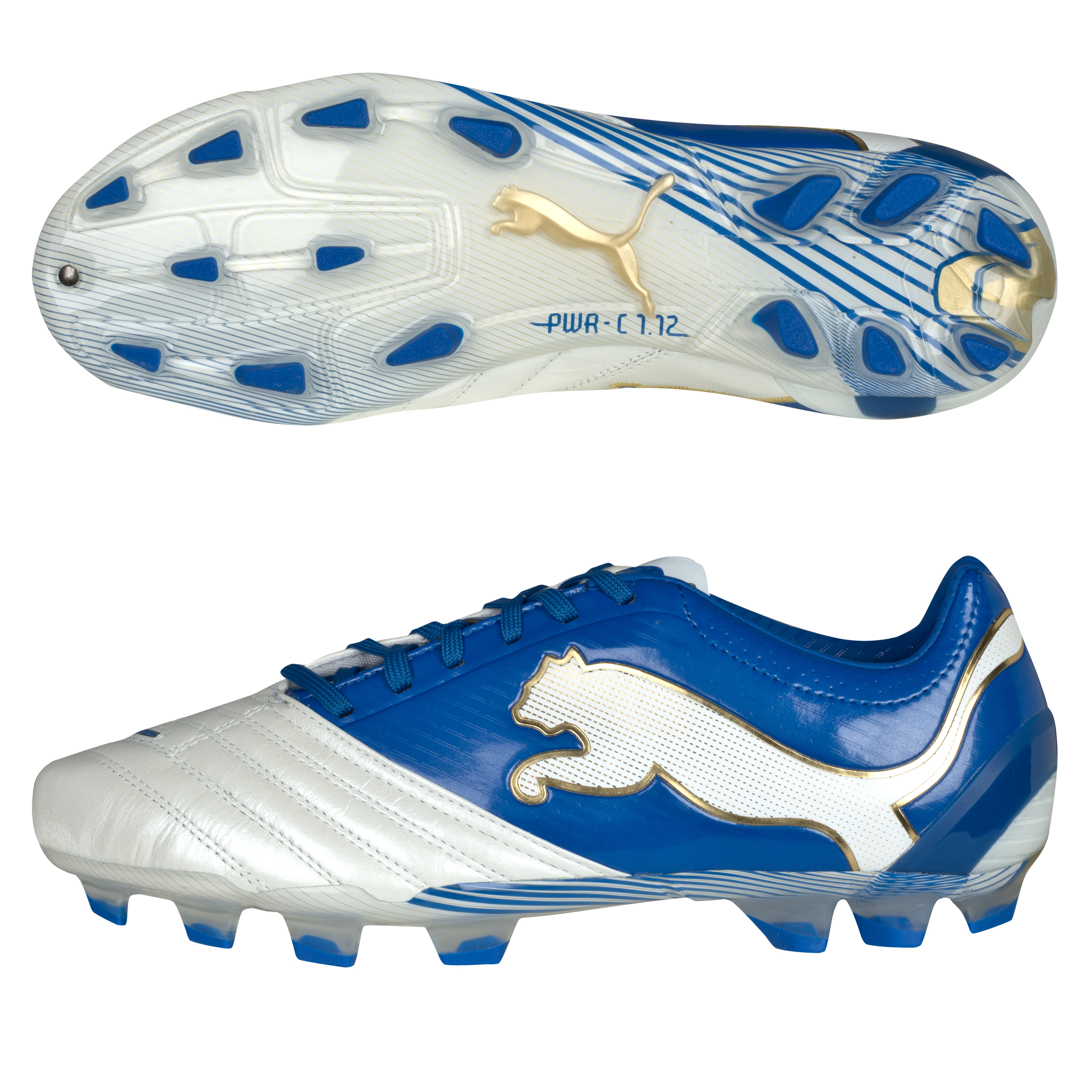 PowerCat 1.12 FG White/Royal/Team Gold
