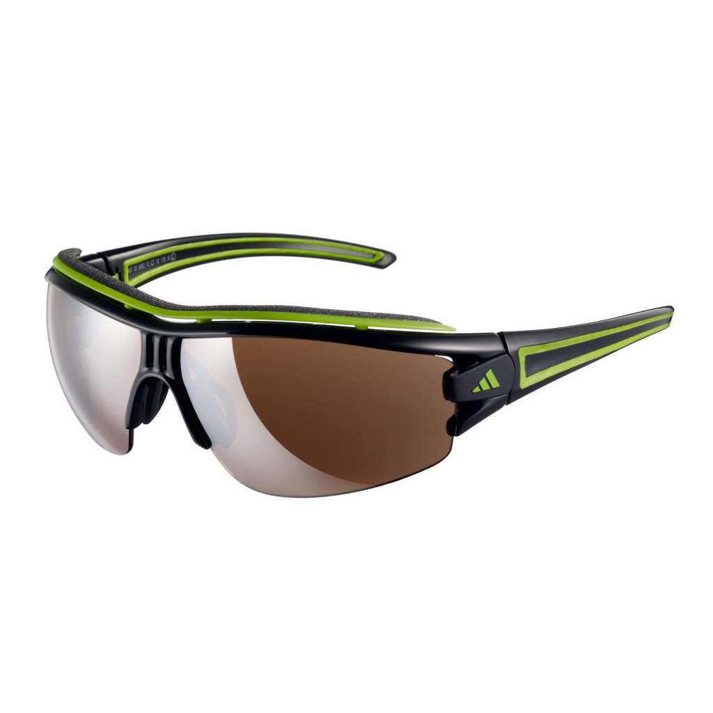 Adidas Evil Eye Half Rim Pro Sunglasses - Shiny Black/Green - Small