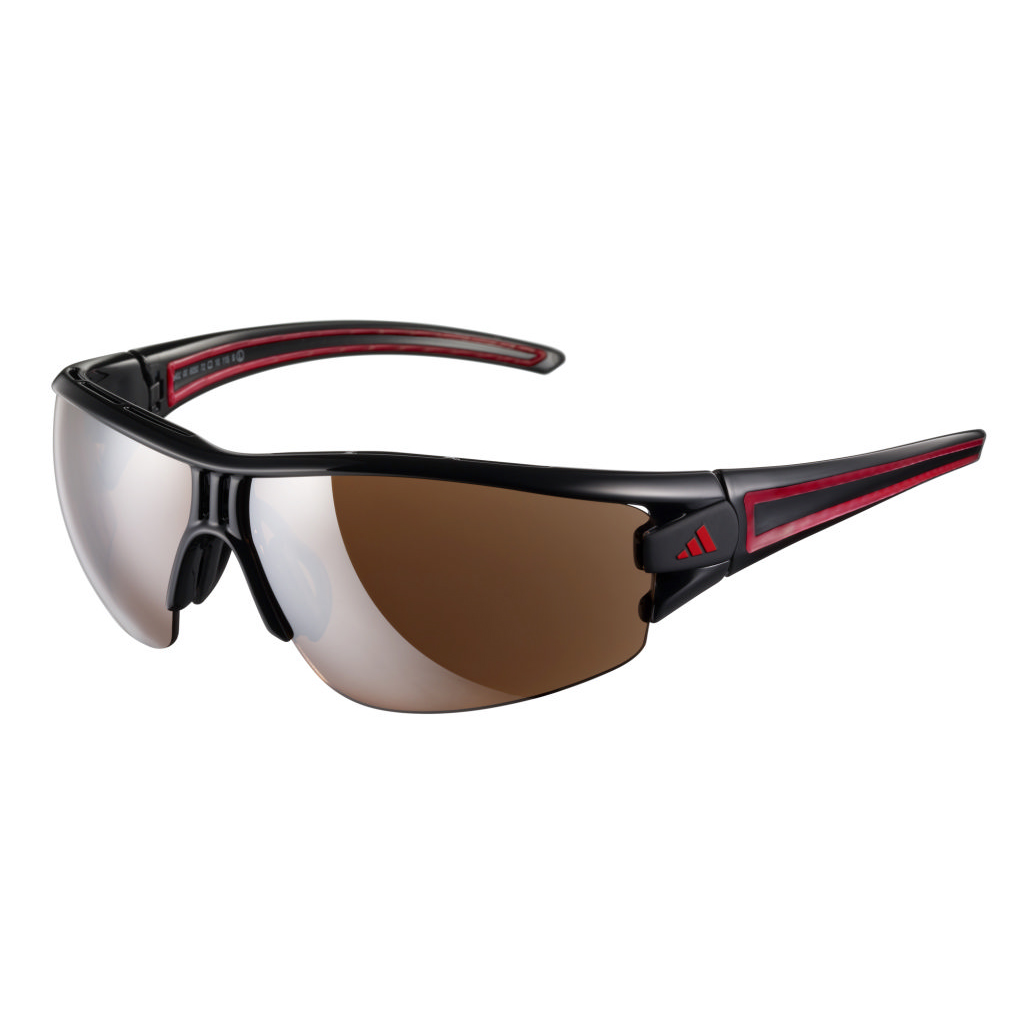 adidas Evil Eye Half Rim Pro Sunglasses - Shiny Black/Red - Small