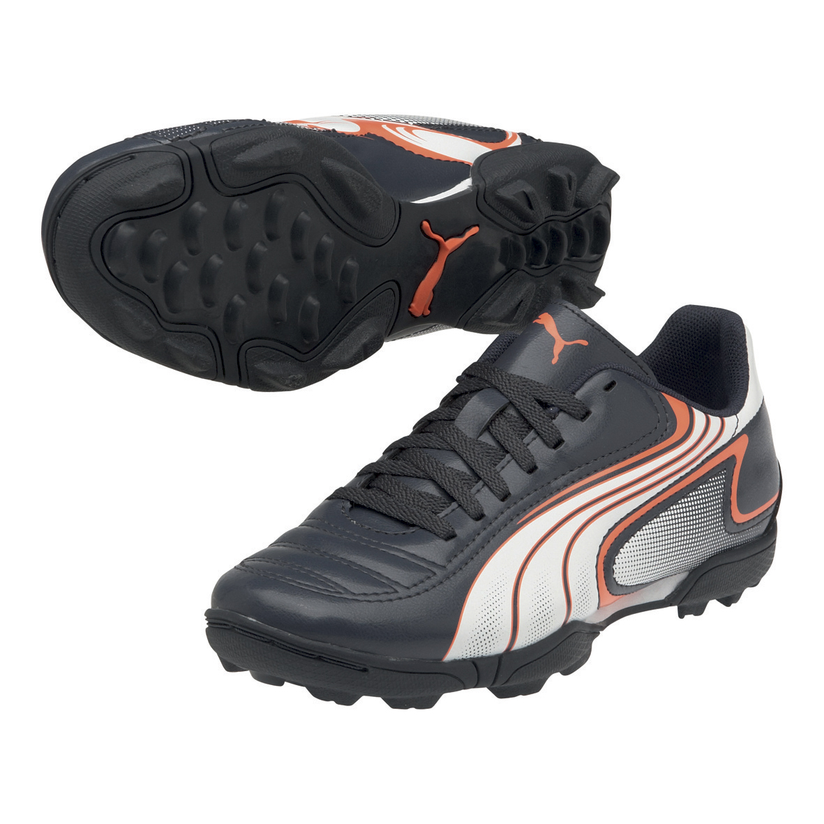 Puma v6.11 Astro Turf Trainers - Team Charcoal/White/Fluo Peach