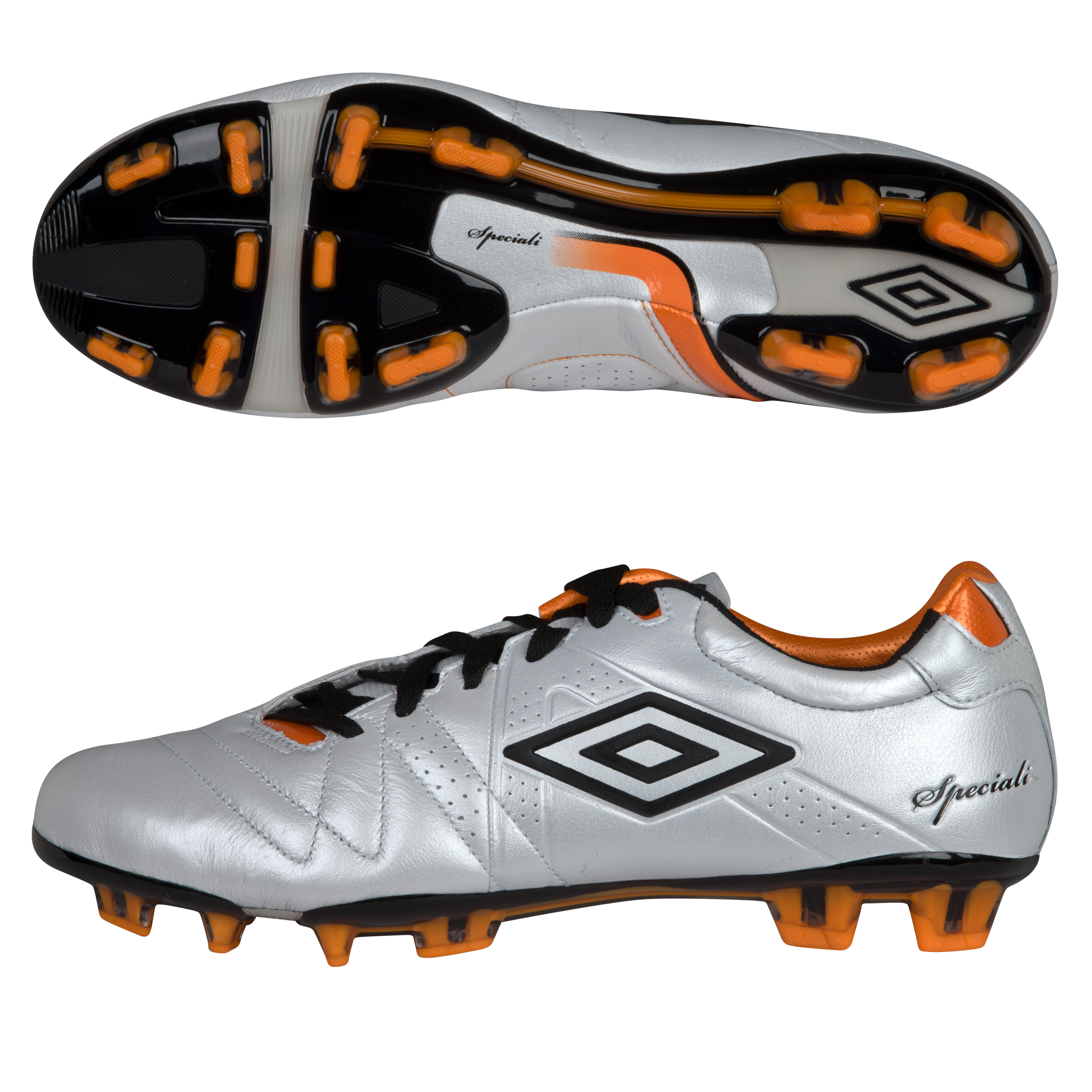 Umbro Speciali 3 Pro Firm Ground Football Boots - Pearlised White/Black/Necterine
