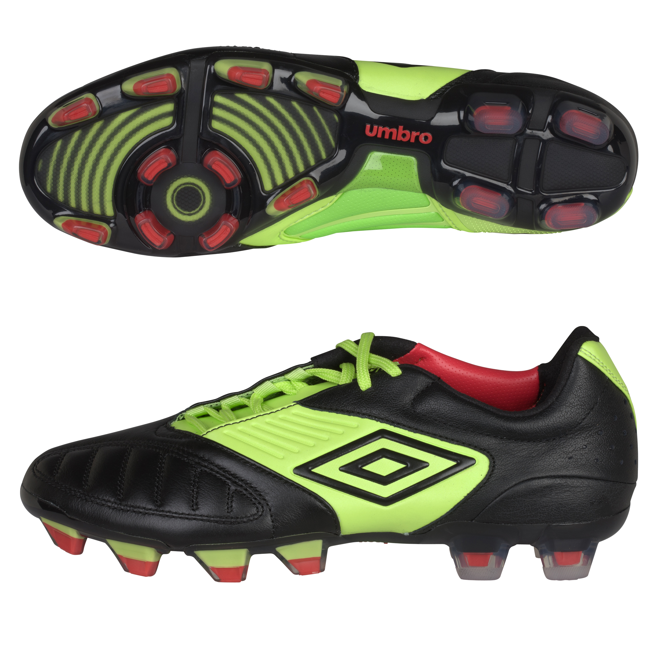 Umbro Geometra Pro Firm Ground Football Boots - Black/White/Sharp Green/True Red