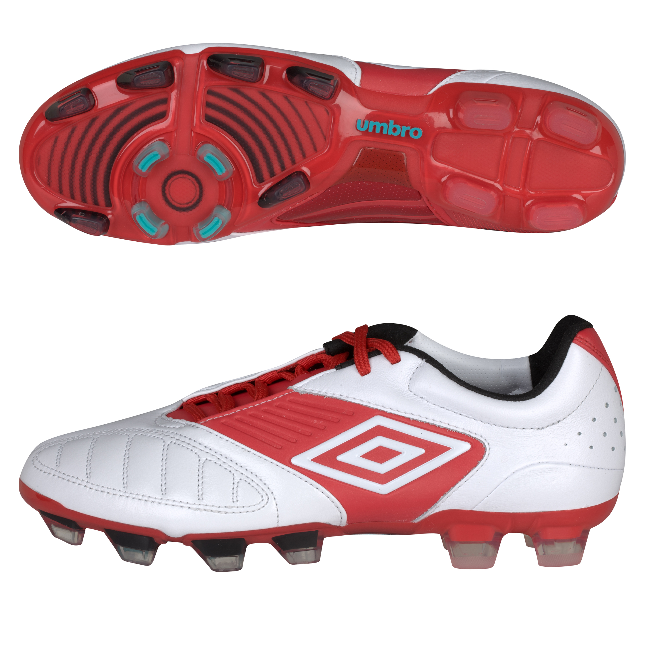 Umbro Geometra Pro Firm Ground Football Boots - White/True Red