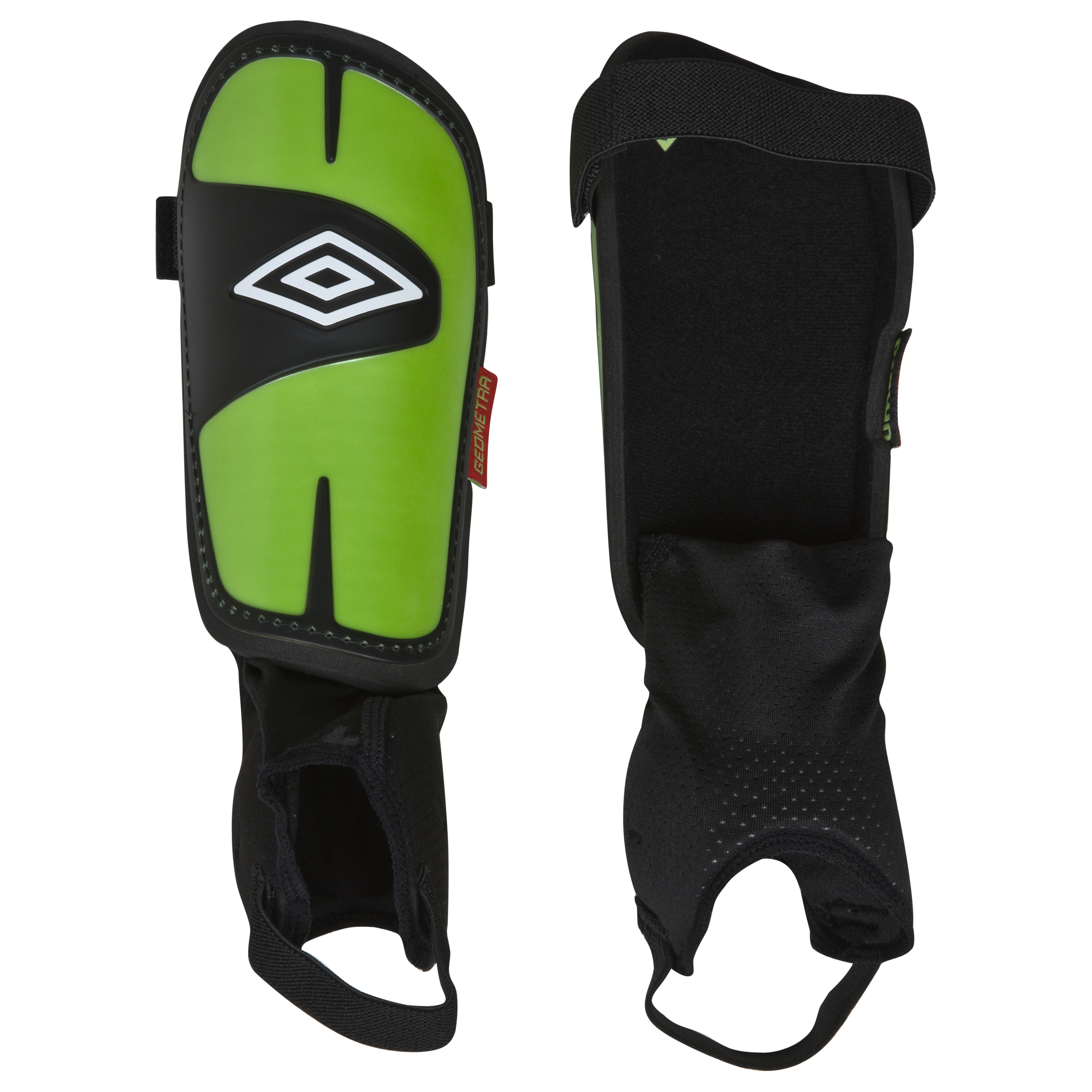 Umbro Geometra Cup Shin Pads - Black/White/Sharp Green/True Red