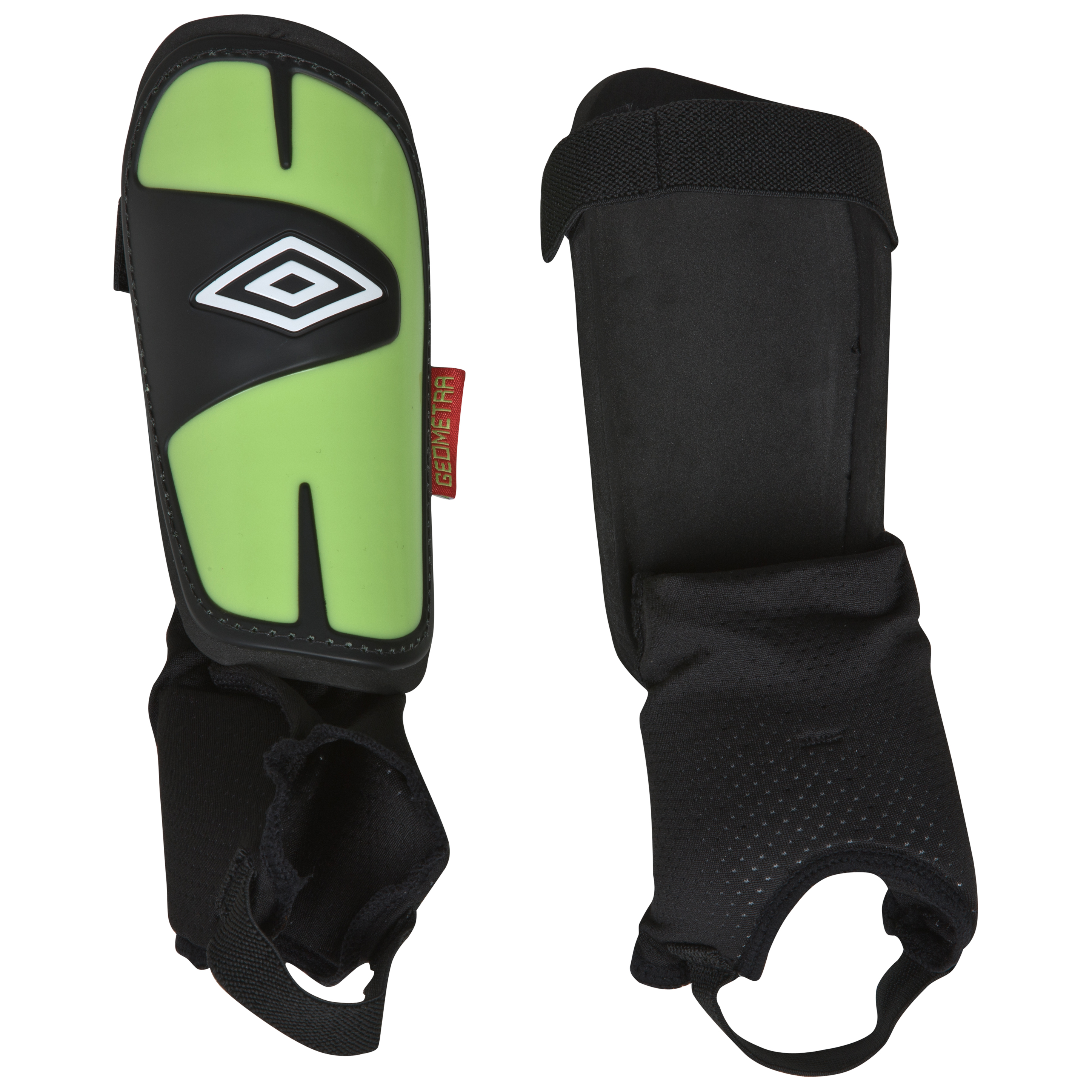 Umbro Geometra Cup Shin Pads - Black/White/Sharp Green/True Red - Kids