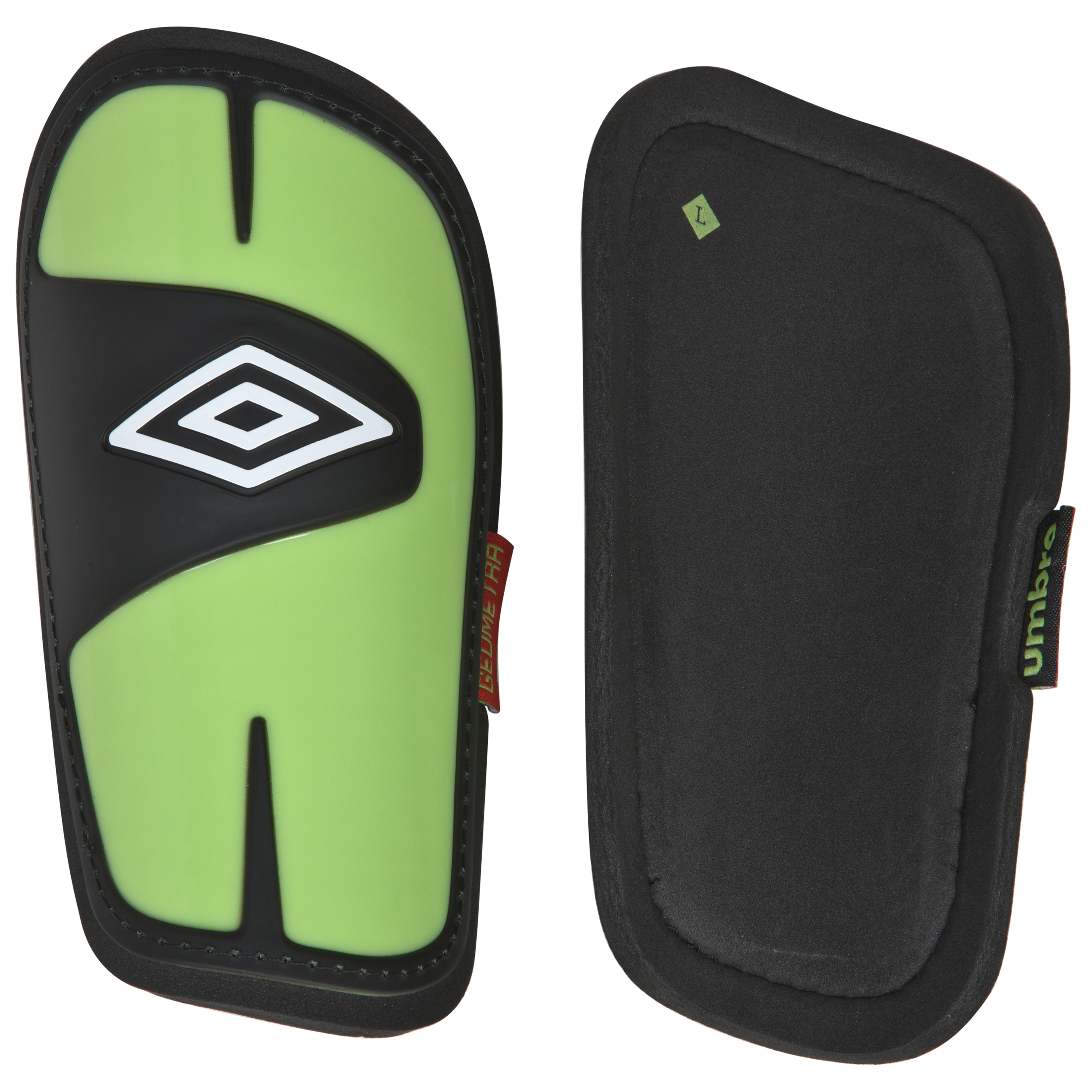 Umbro Geometra Pro Shield Shinpads - Black/White/Sharp Green/True Red