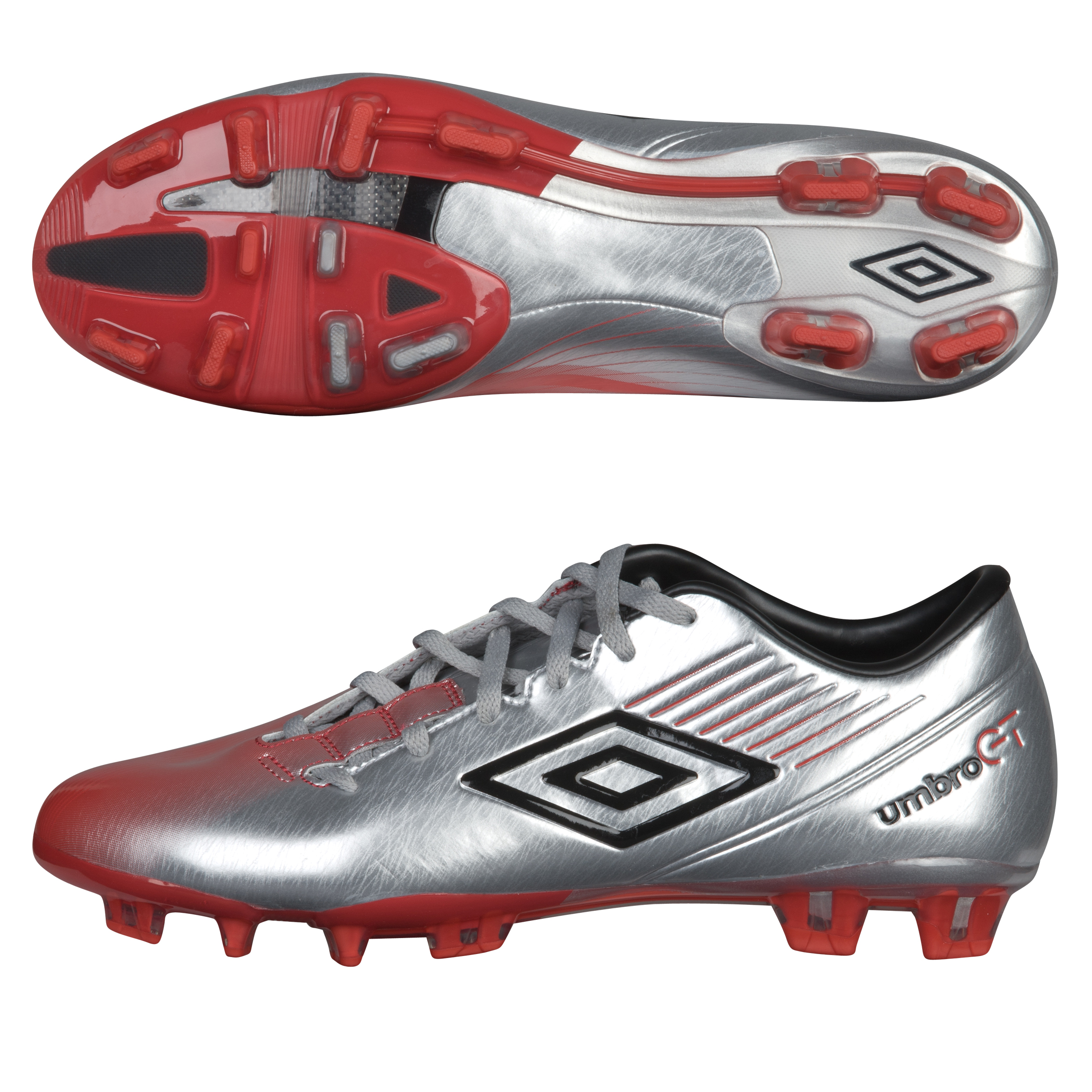 Umbro GT II Pro Firm Ground Silver/Black/True Red
