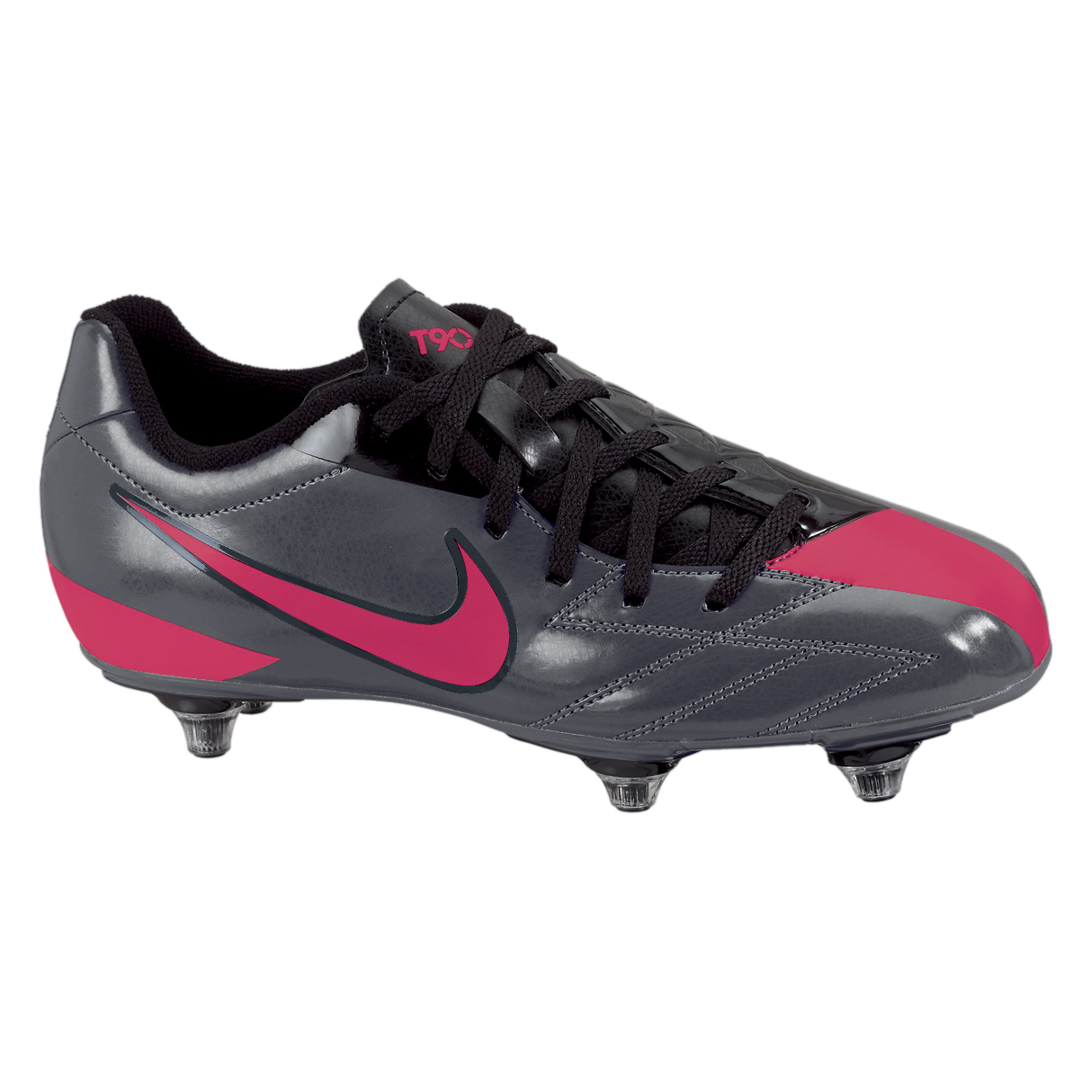Nike T90 Shoot IV Soft Ground Football Boots - Dark Grey/Solar Red/Black - Kids